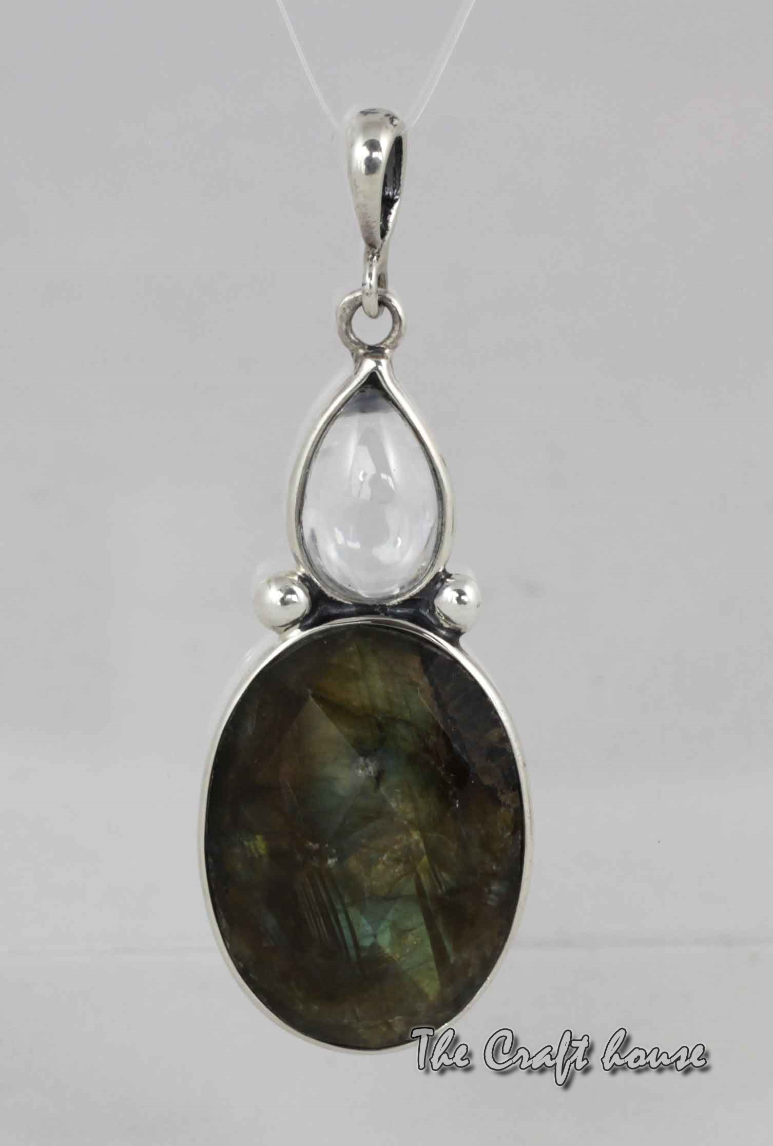 Silver pendant with Labradorite and Rock crystal