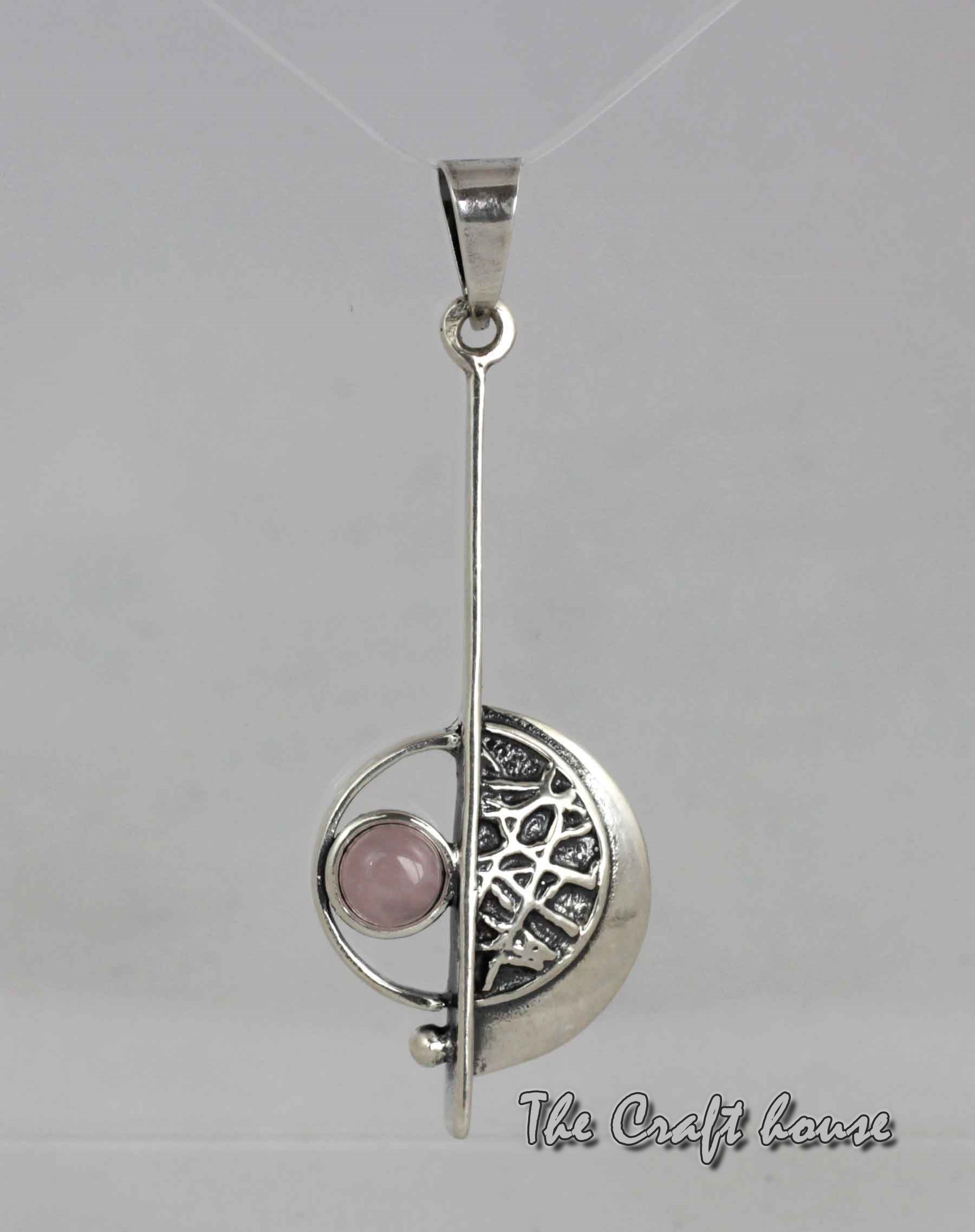 Silver necklace with Pink quartz