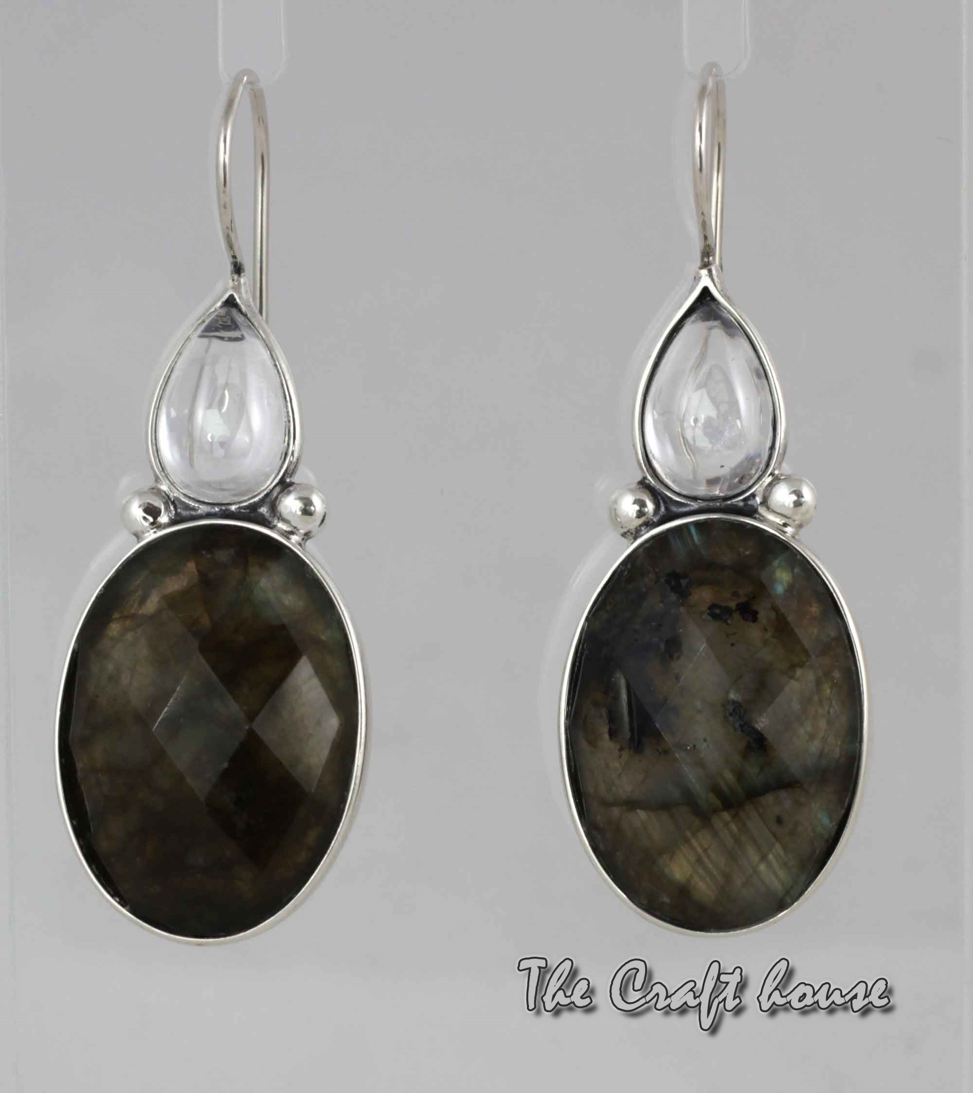 Silver earrings with Labradorite and Rock crystal