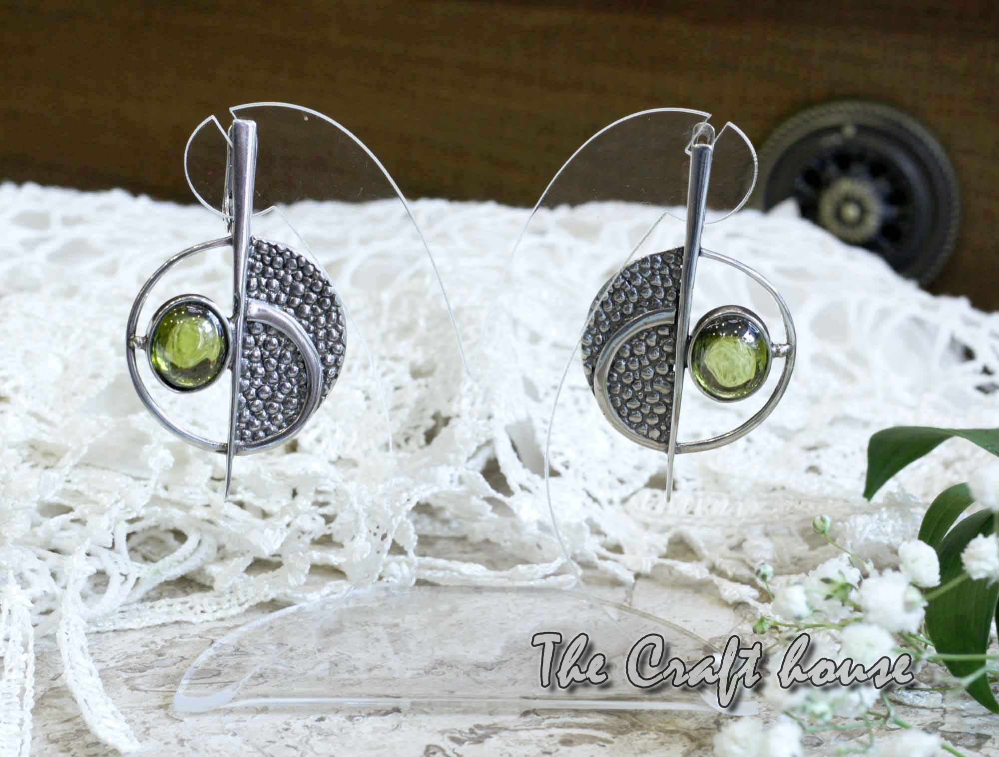 Silver earrings with Olivine