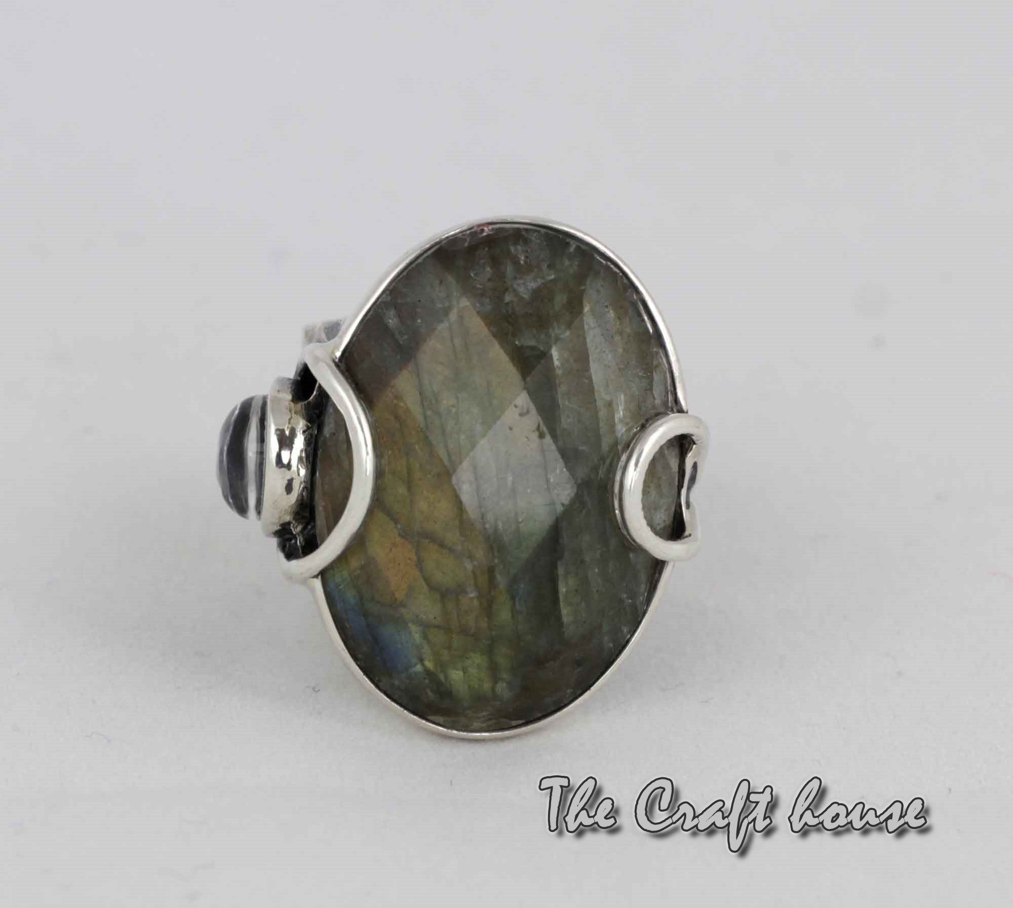 Silver ring with Labradorite and Rock crystal