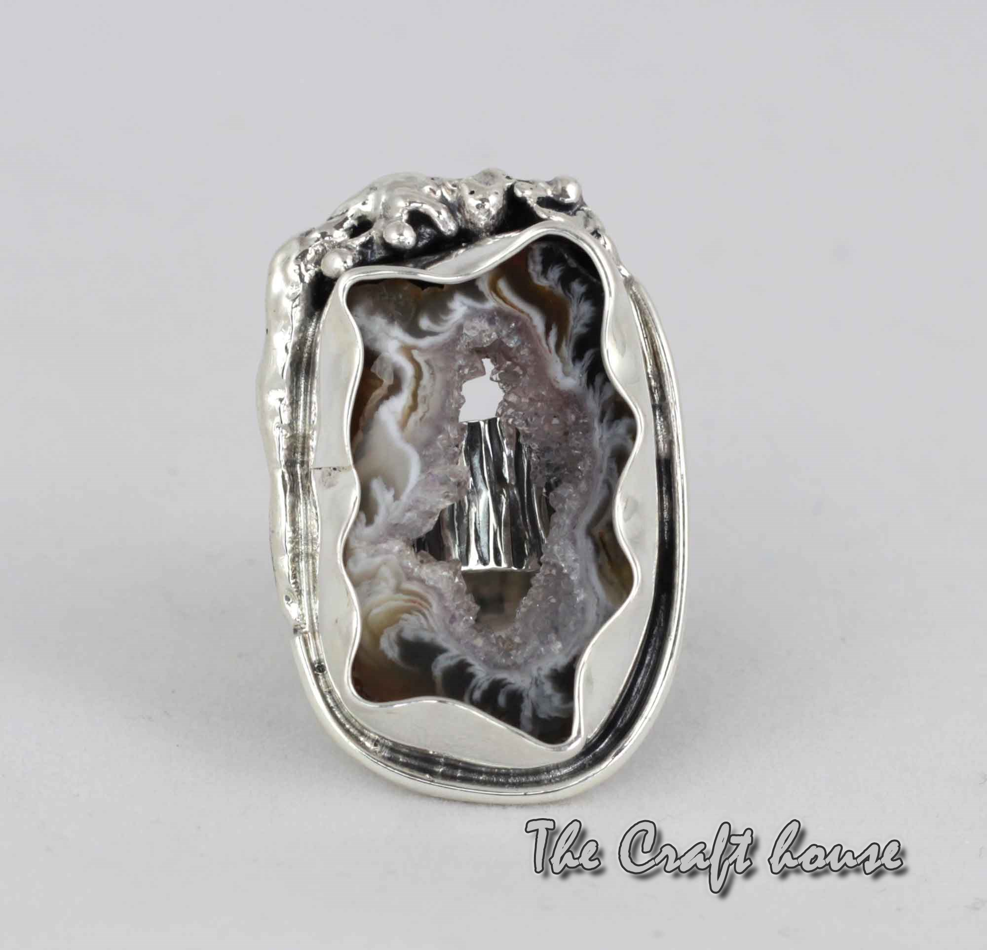 Silver ring with Agate druze