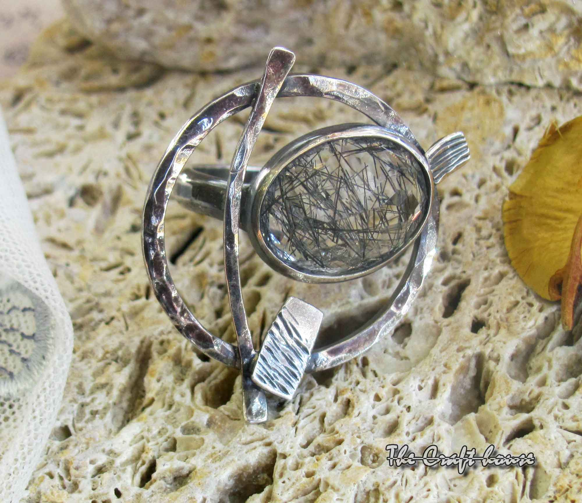 Silver ring with Rutilated quartz