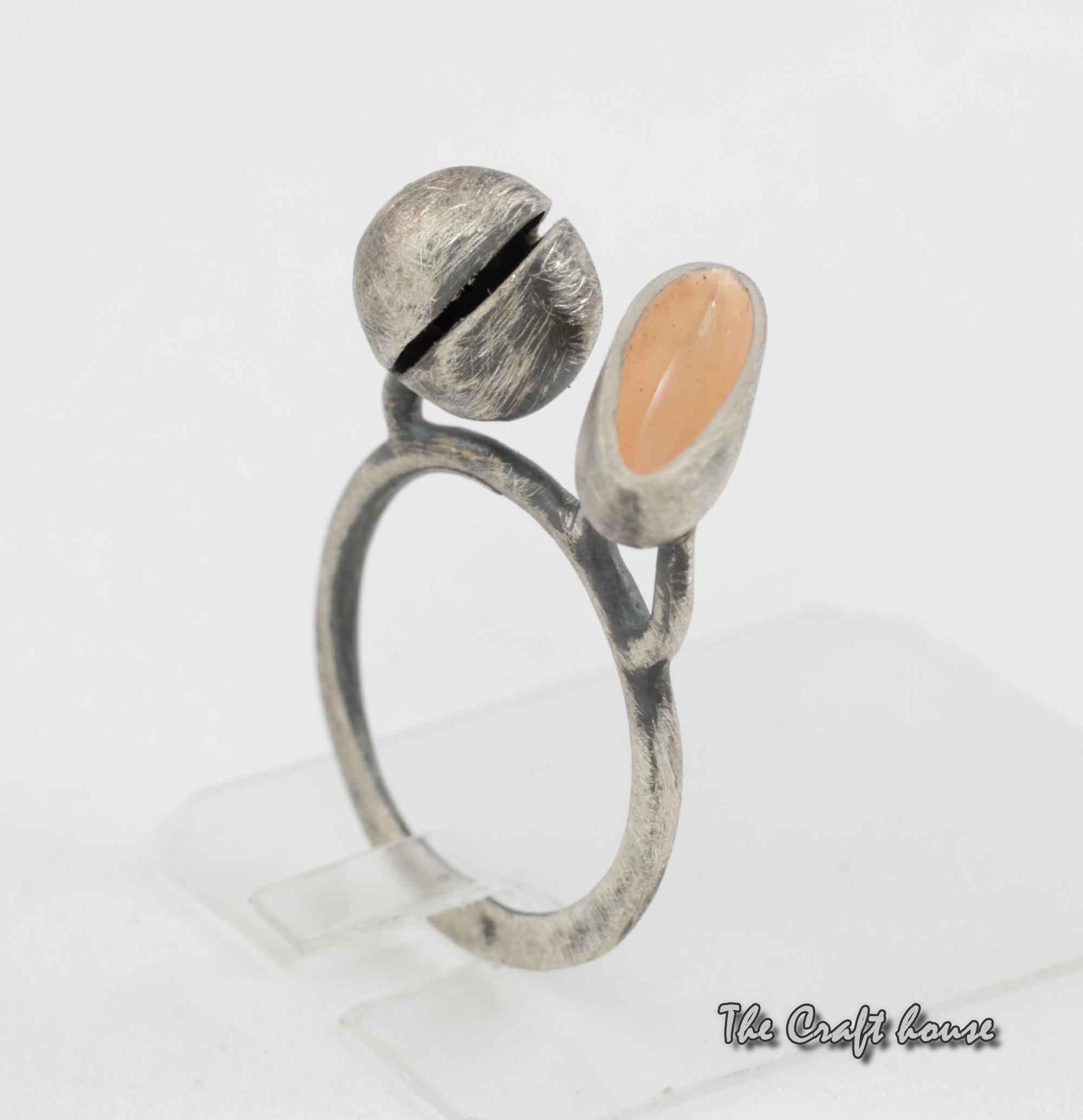 Silver ring with color enamel