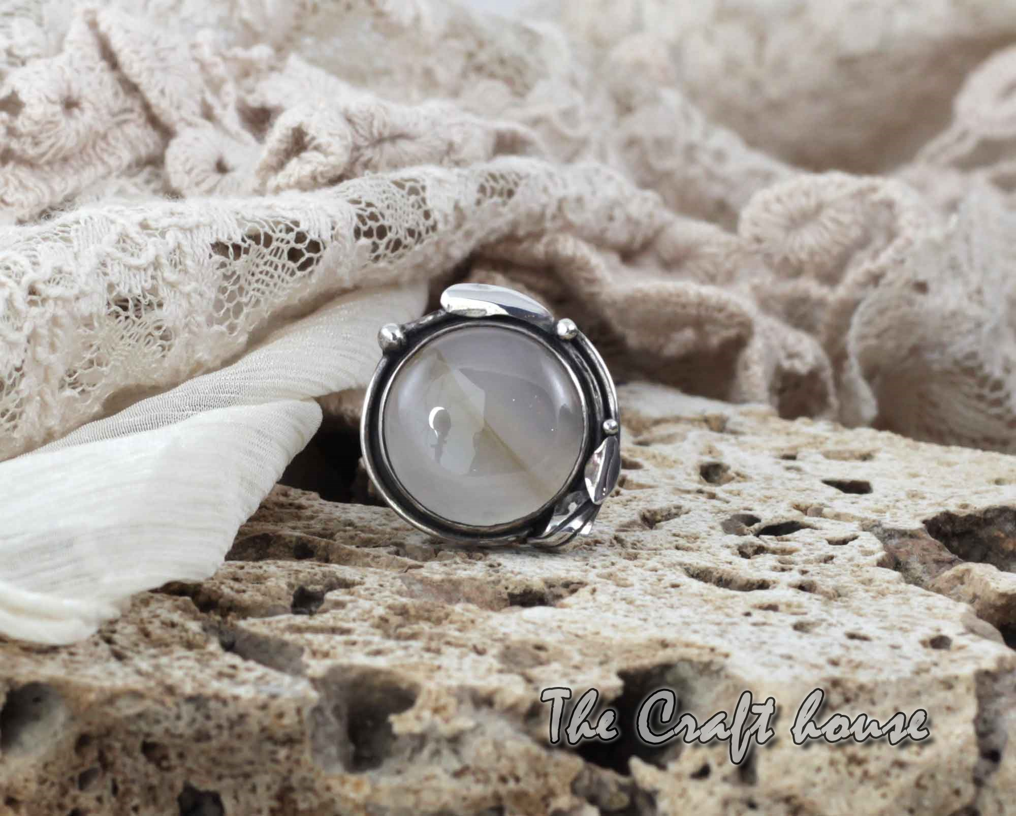 Silver ring with Chalcedony