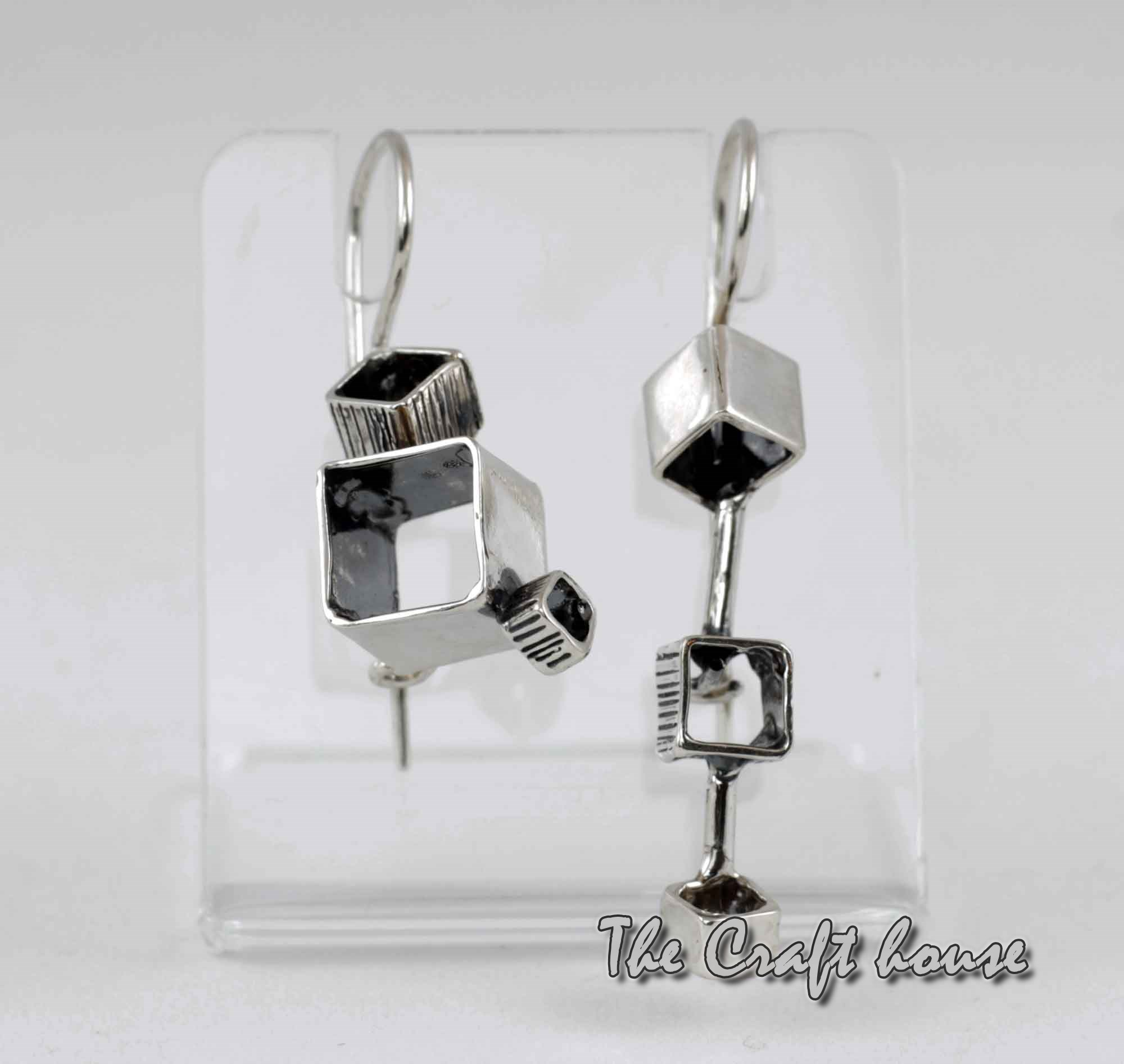 Silver earrings 'Cubes'