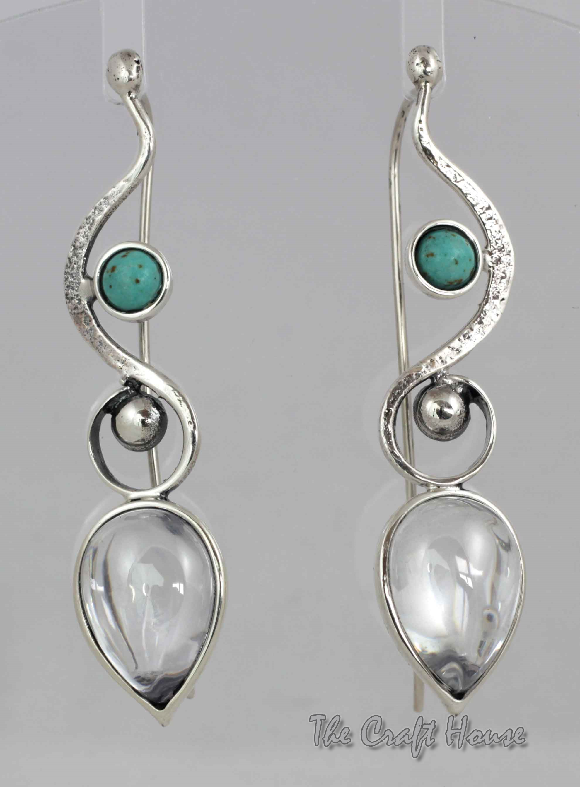 Silver earrings with Rock crystal and Turquoise