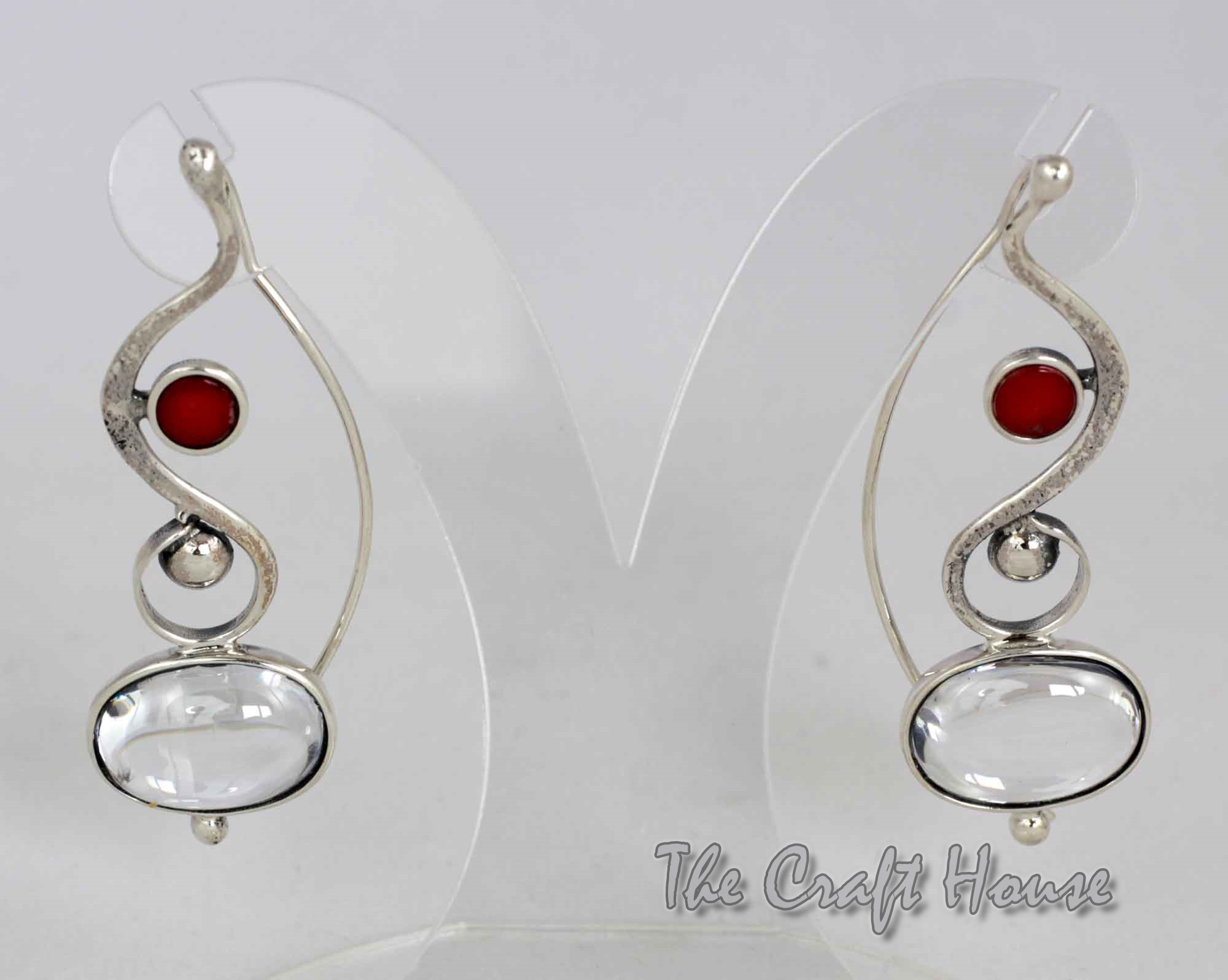 Silver earrings with Rock crystal and Coral
