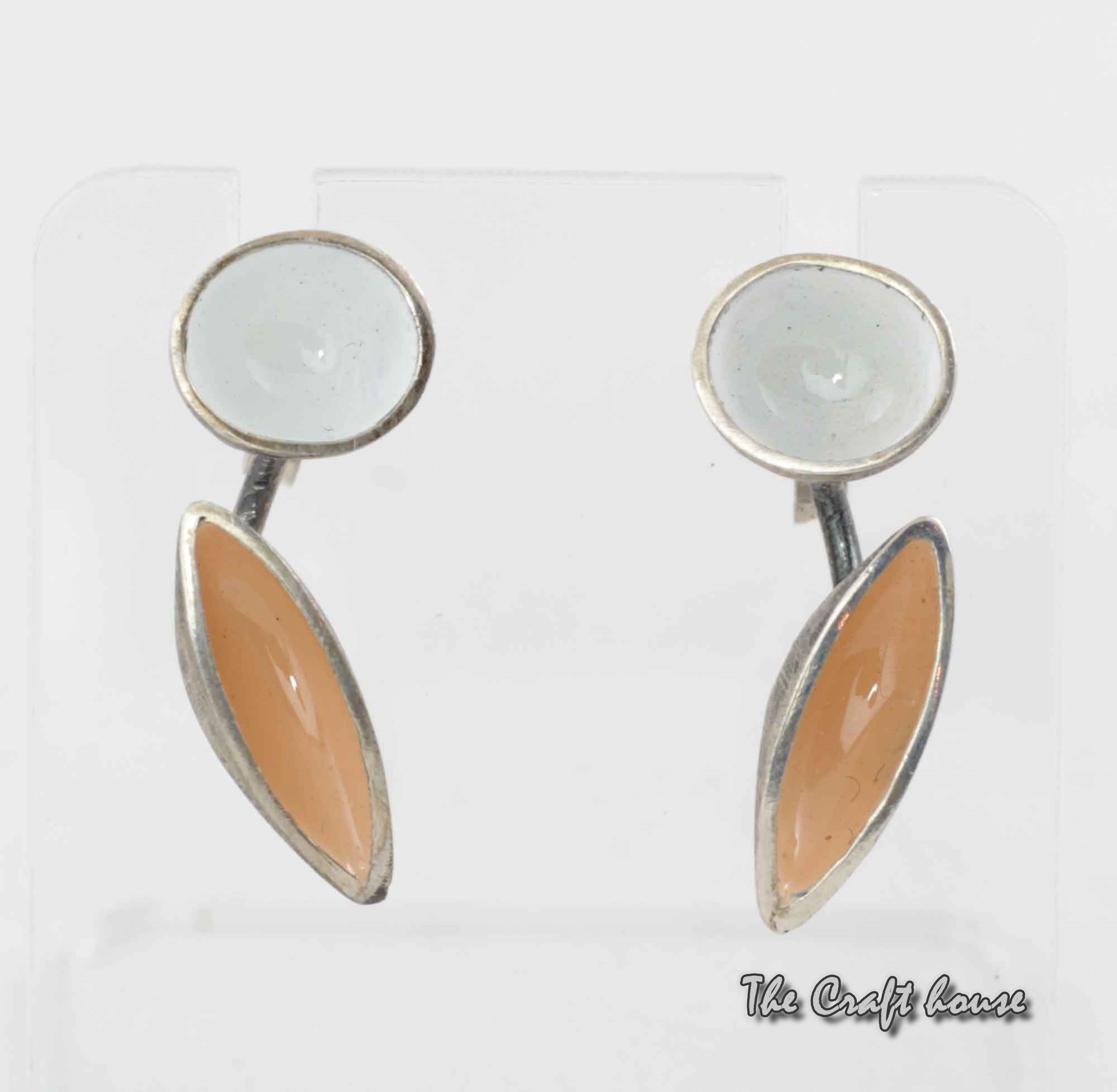 Silver earrings with color enamel