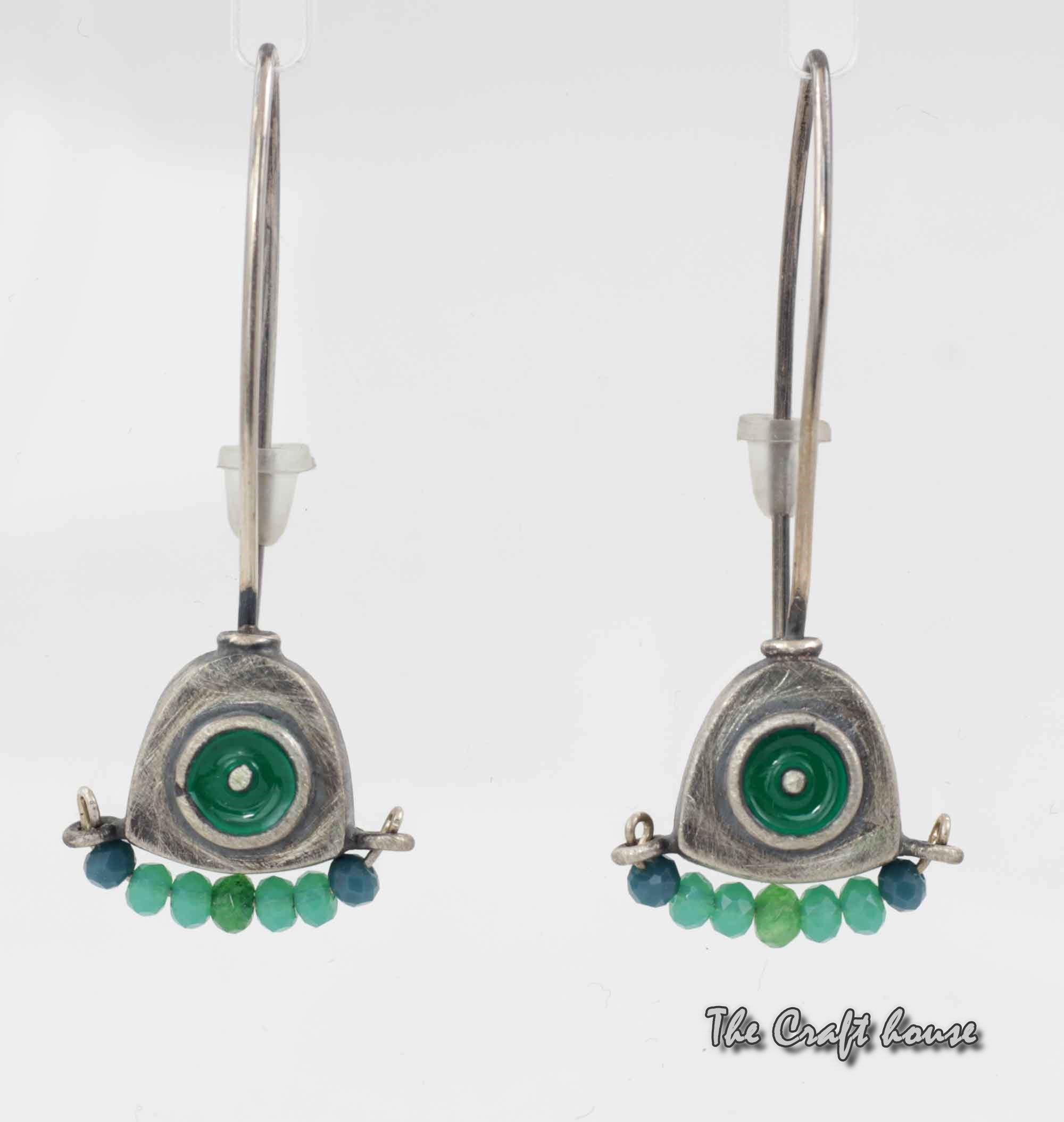 Silver earrings with beads and enamel