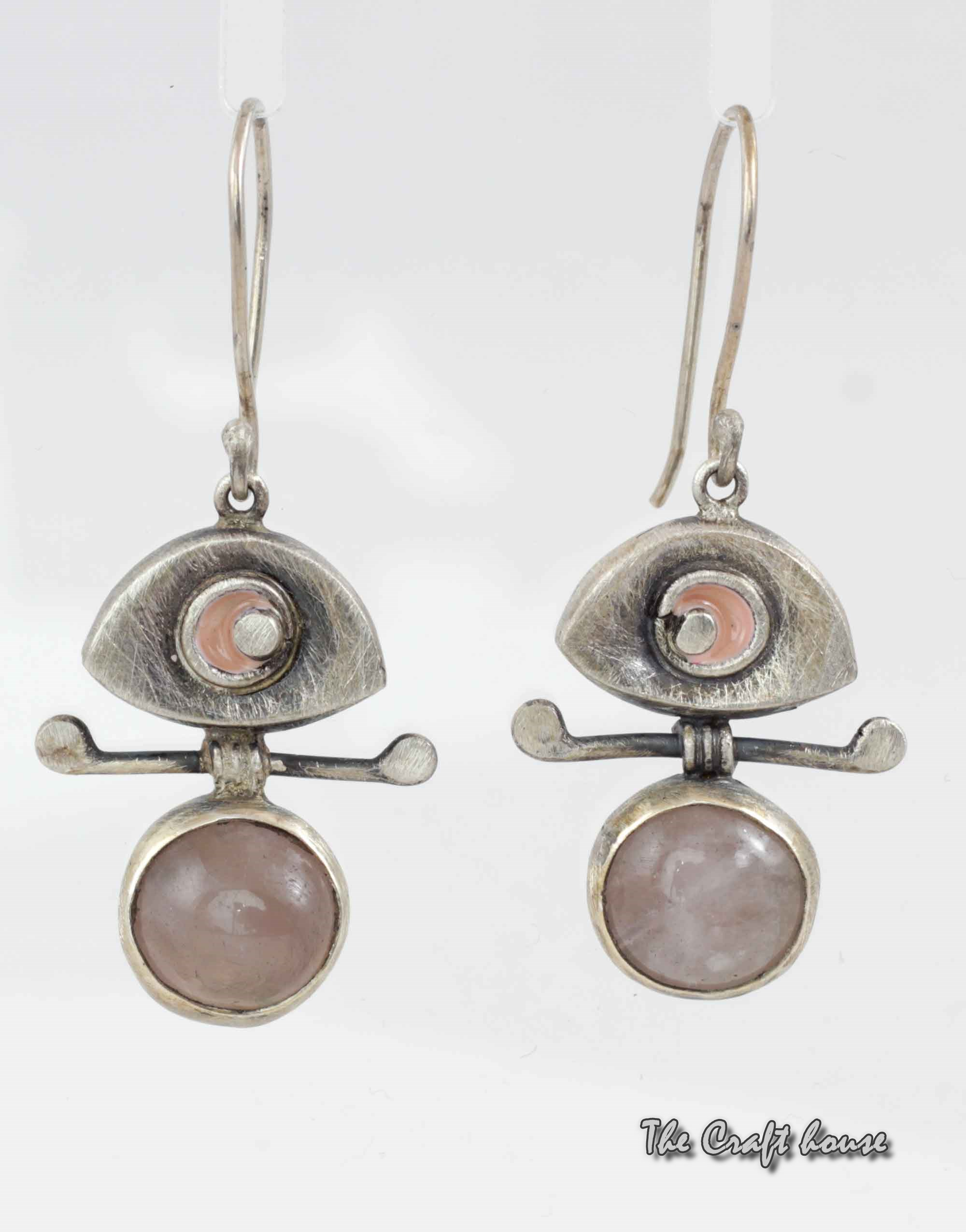 Silver earrings with Pink quartz and enamel