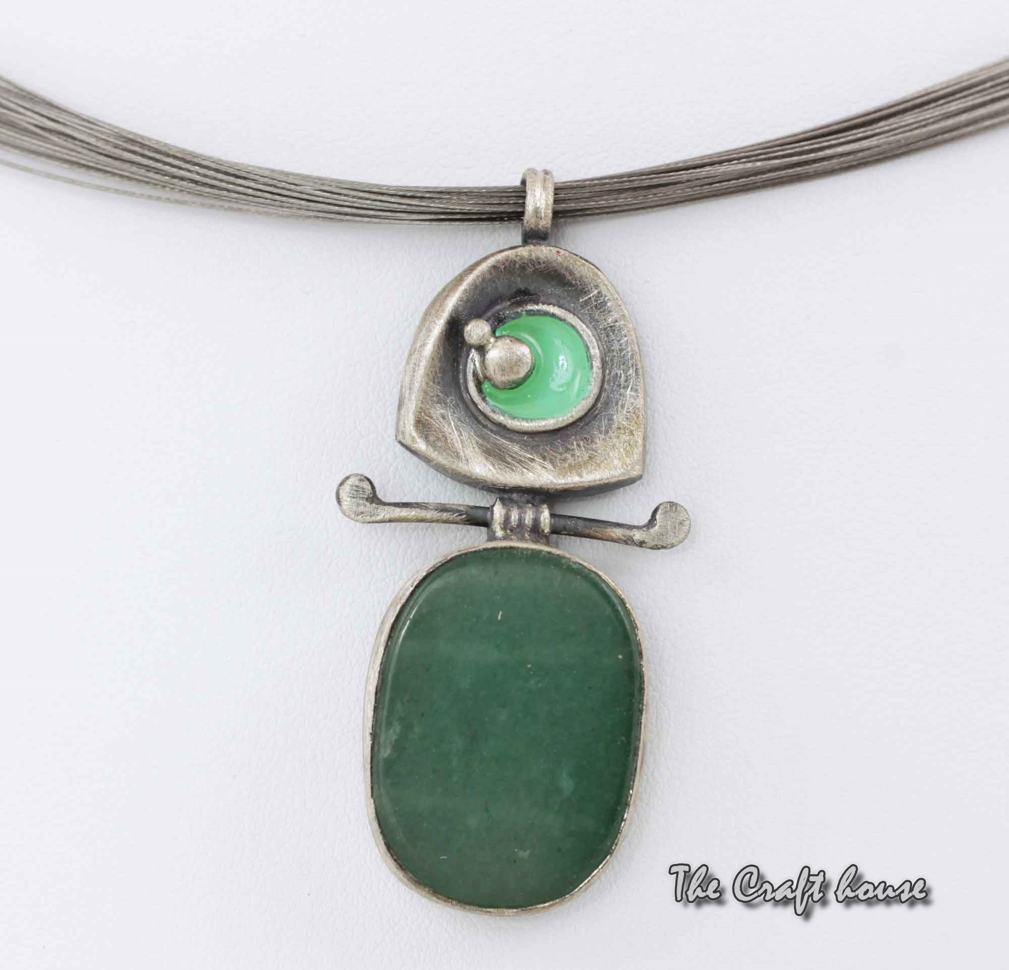 Silver necklace with Aventurine and enamel