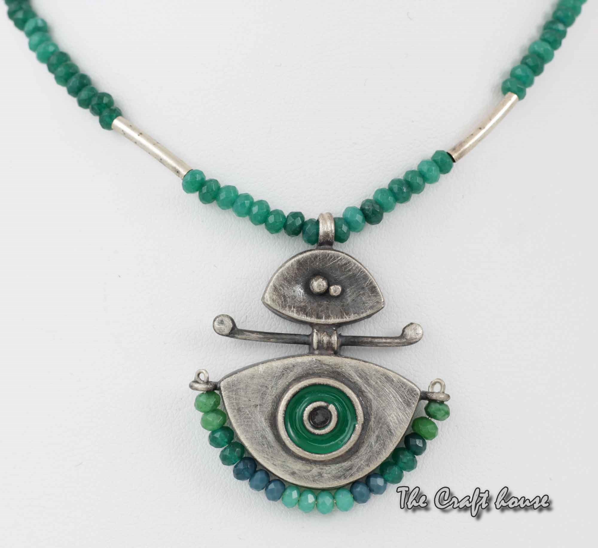 Silver necklace with beads and enamel