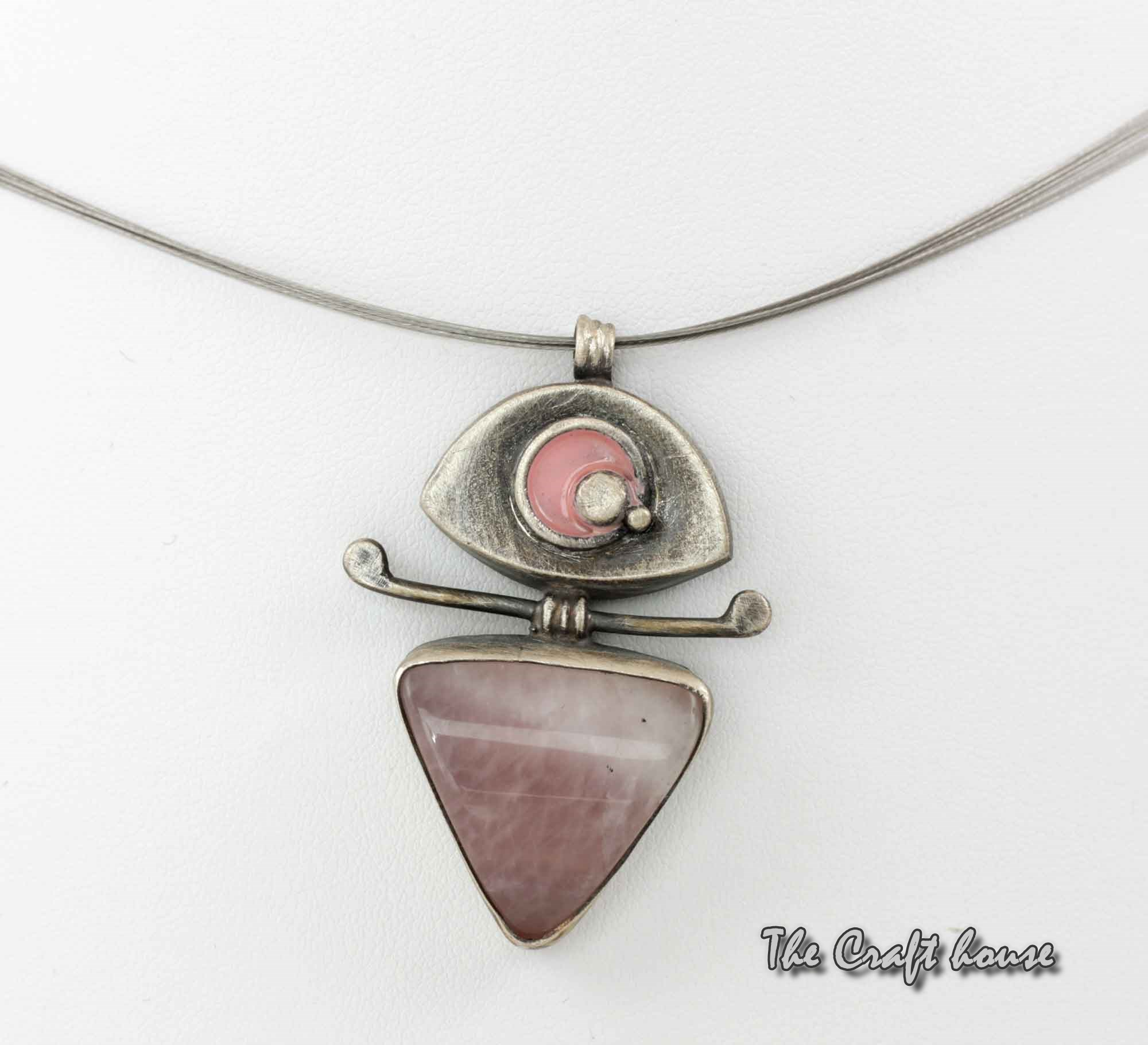 Silver necklace with Pink Quartz and enamel