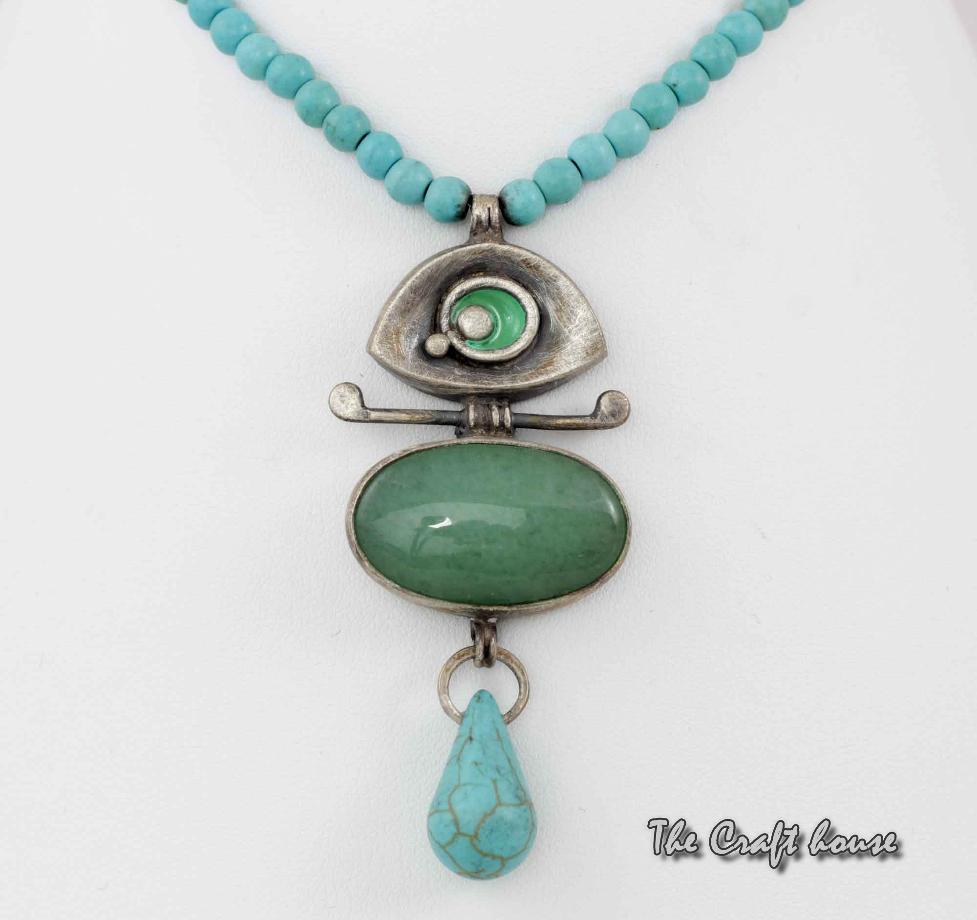 Silver necklace with Aventurine and Turquoise