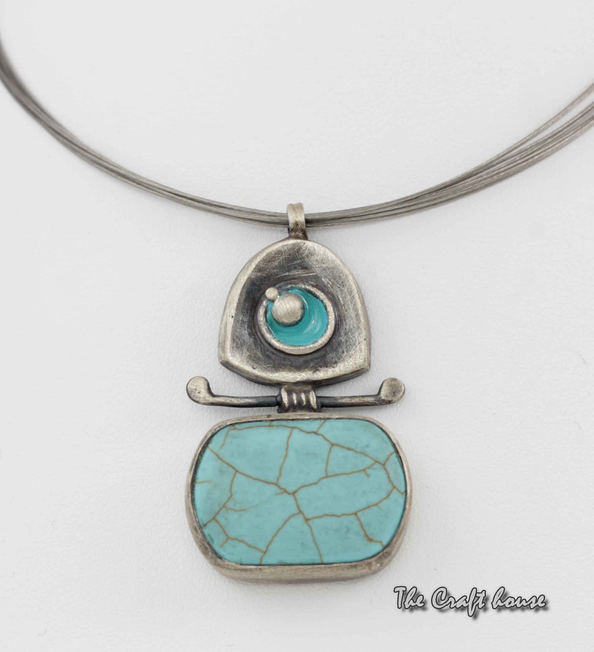 Silver necklace with Turquoise and enamel