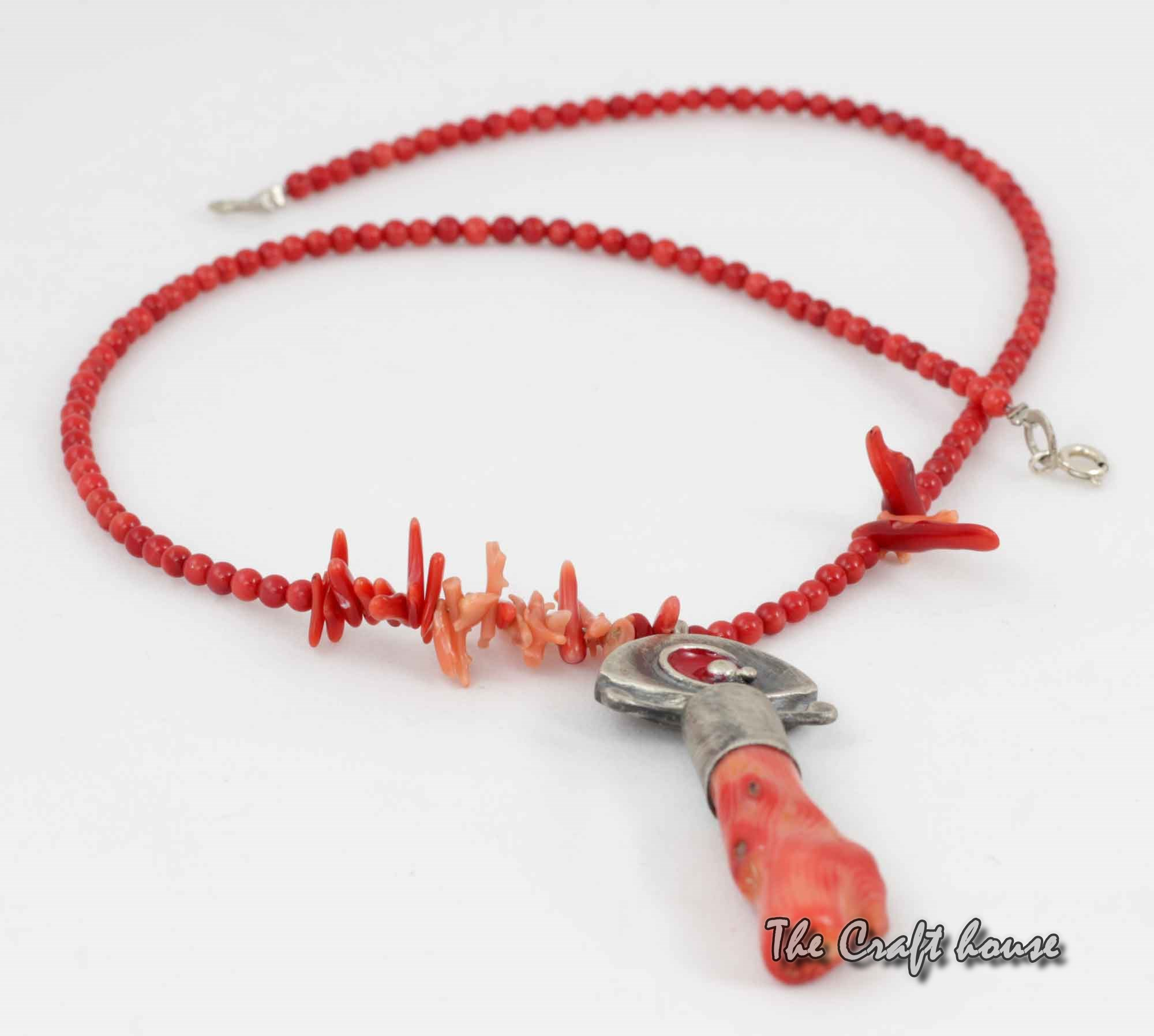 Silver necklace with Coral