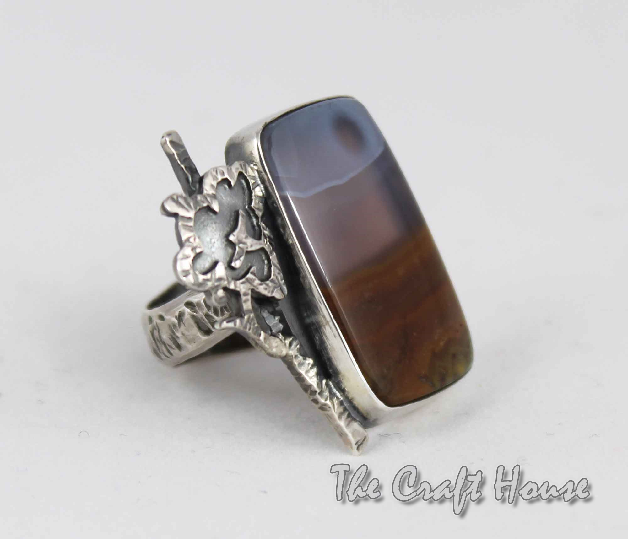 Silver ring with Lanscape agate