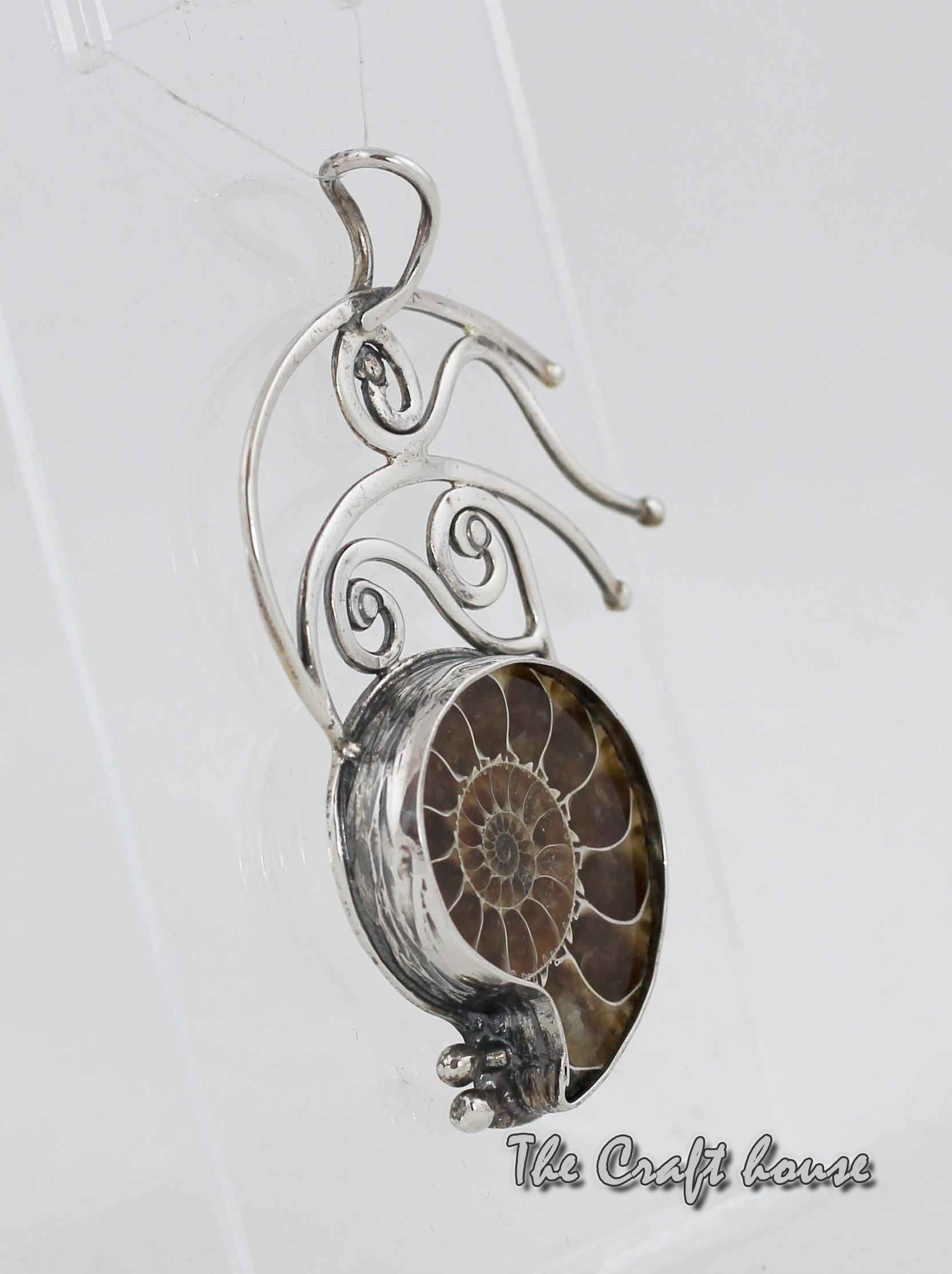 Silver pendant with Ammonite fossil
