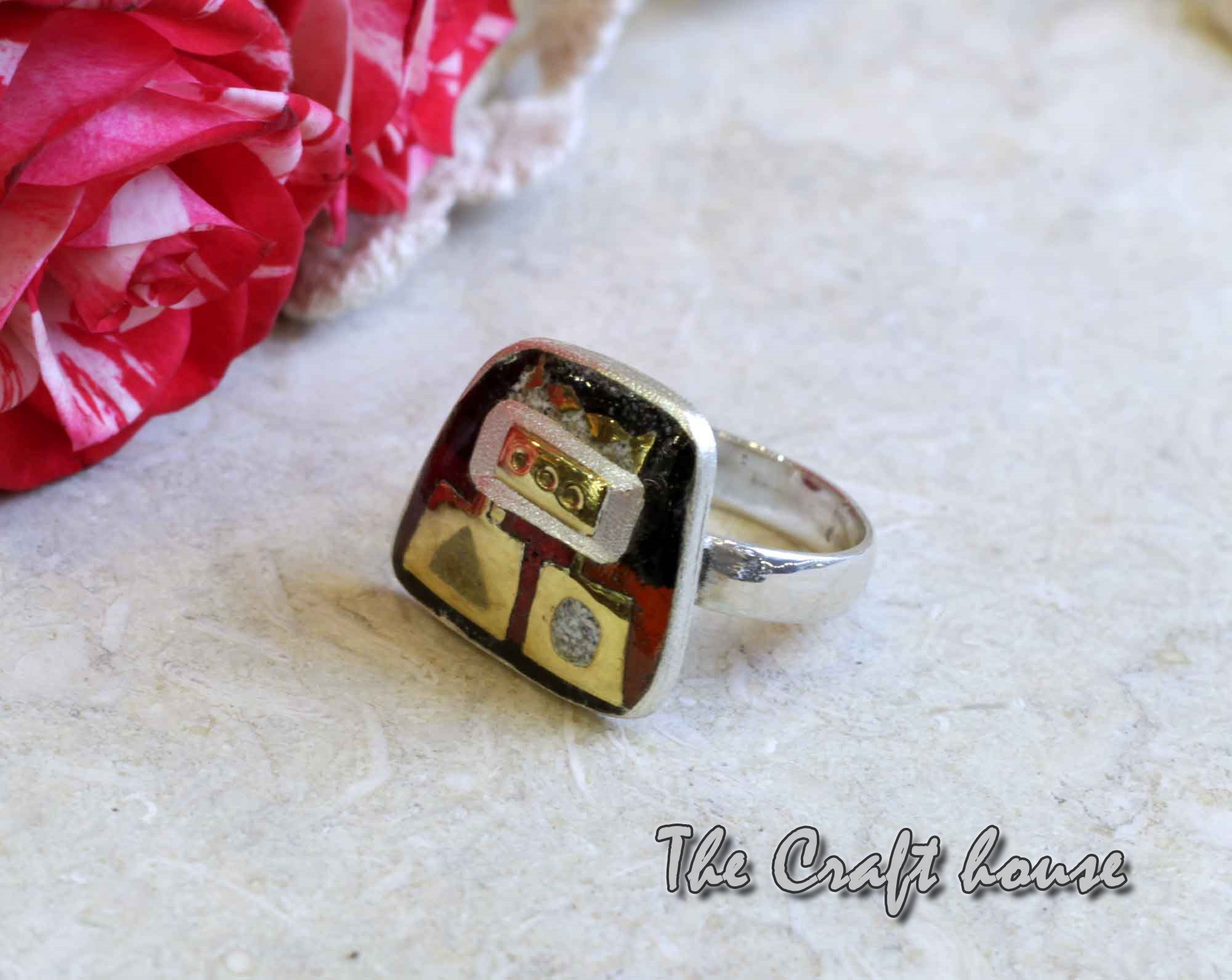 Silver ring with enamel & gold-plating