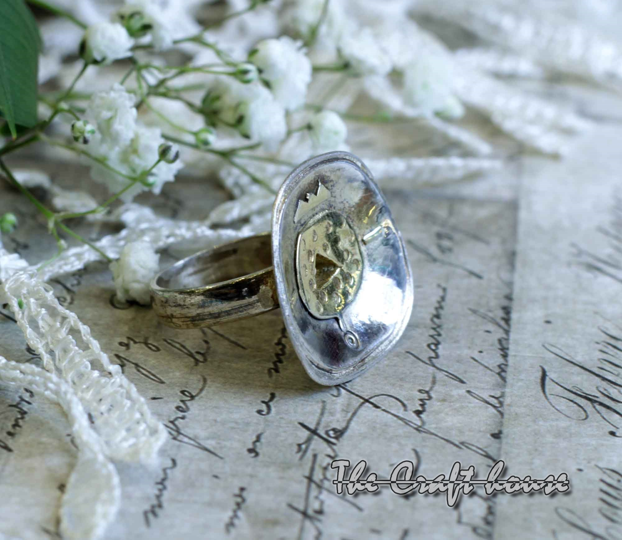 Silver ring with gold-plating