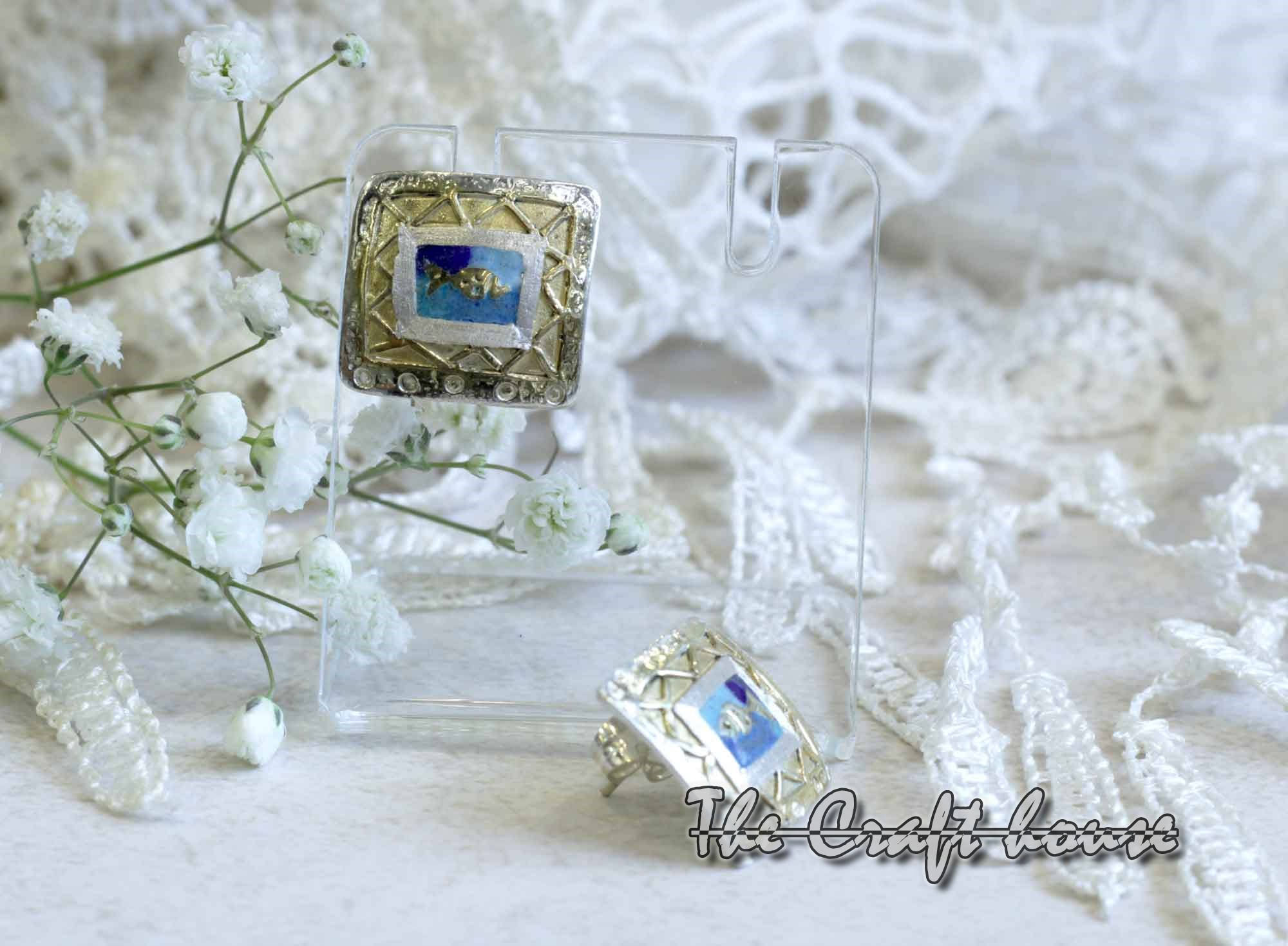 Silver earrings with enamel & gold-plating