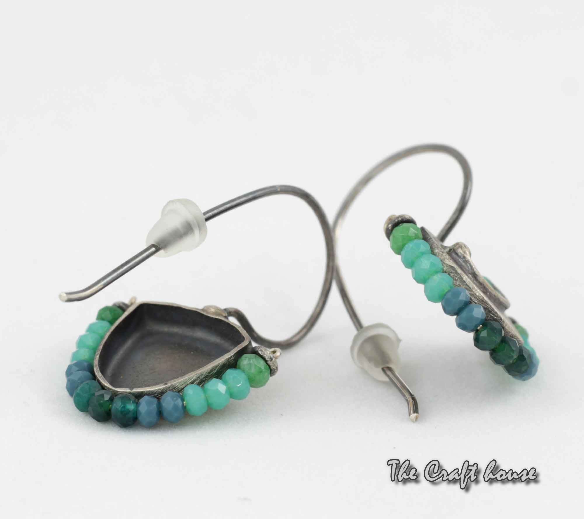 Silver earrings with Aventurine and green enamel