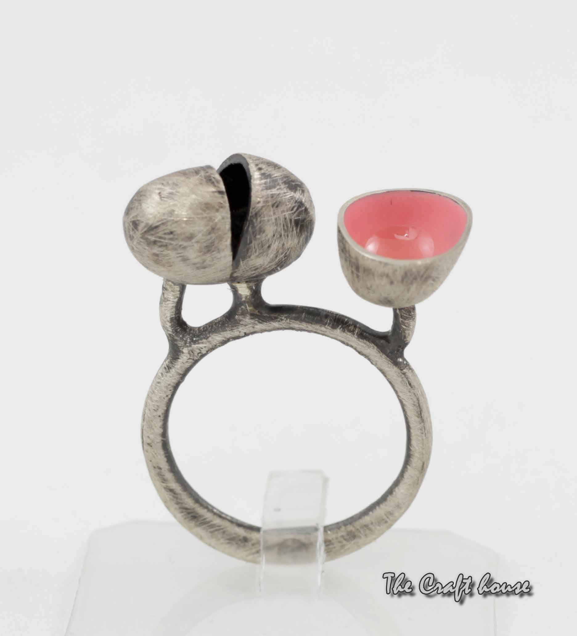 Silver ring with pink enamel
