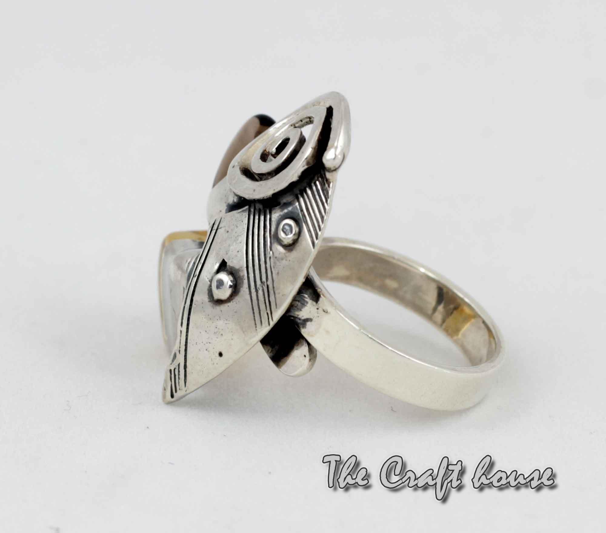 Silver ring with Smoky quartz and Lemon quartz