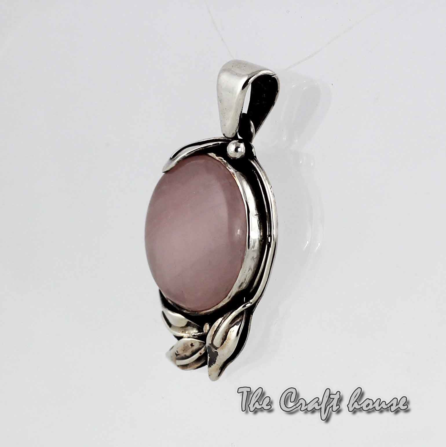 Silver pendant with Pink quartz
