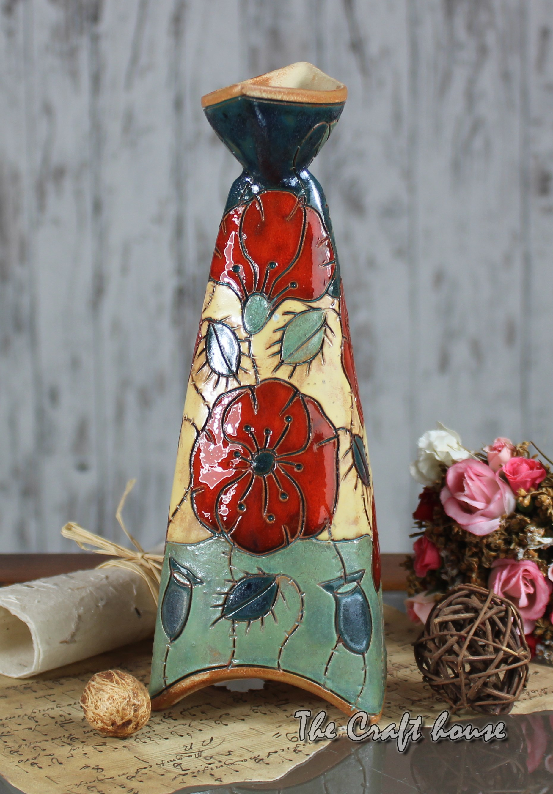 Ceramic Candlestick Poppies