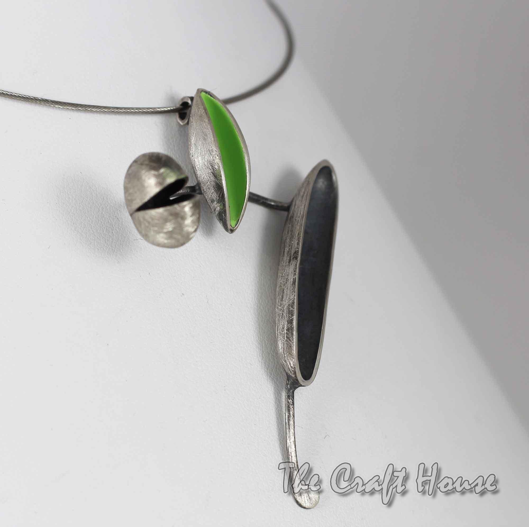 Silver necklace with color enamel