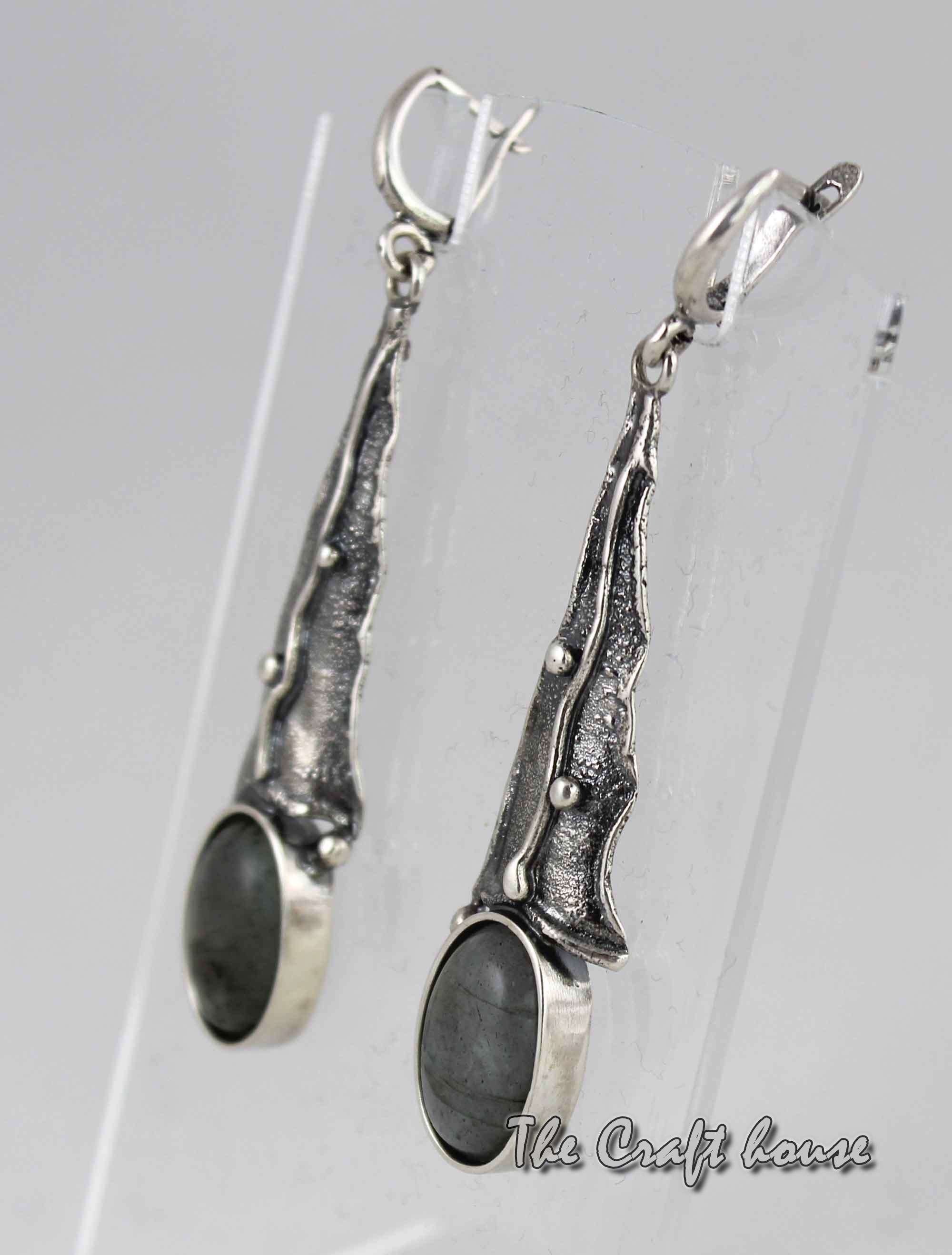 Silver earrings with Labradorite