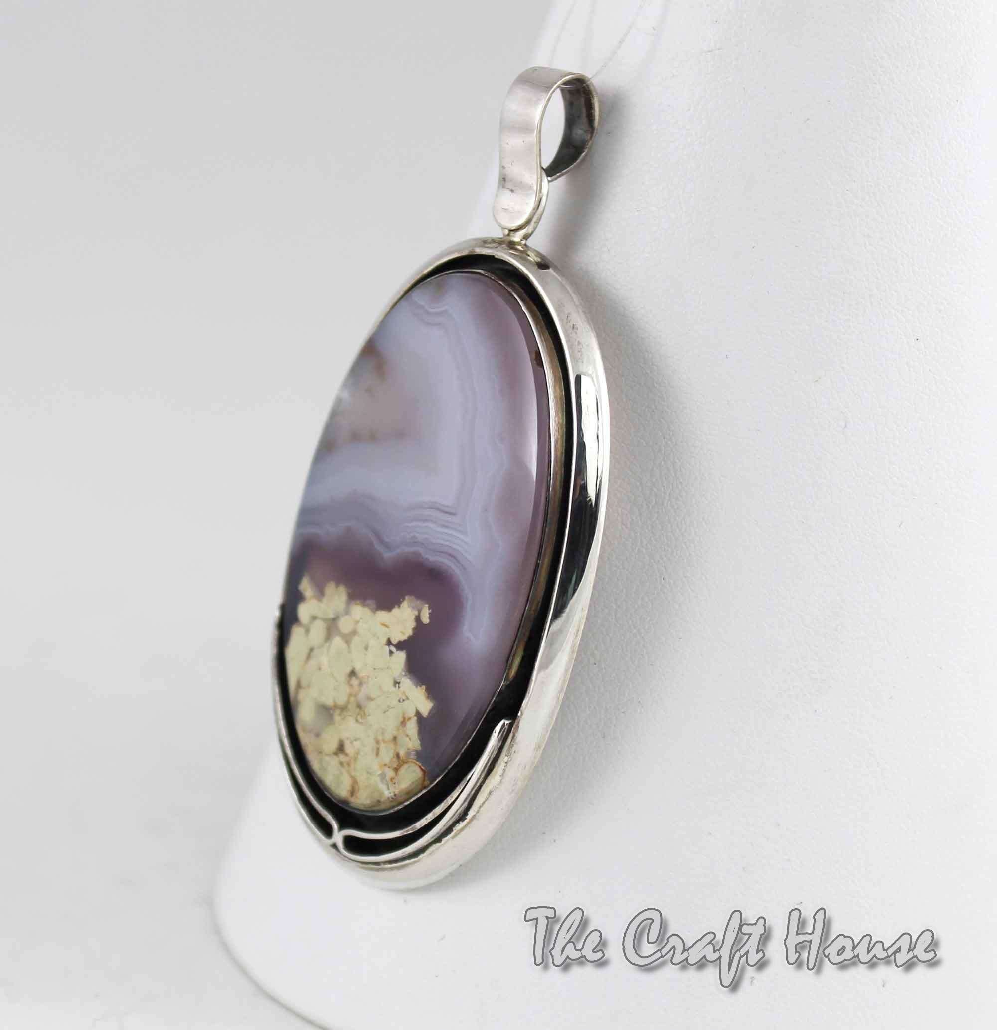 Сребърен медальон с Пейзажен ахат