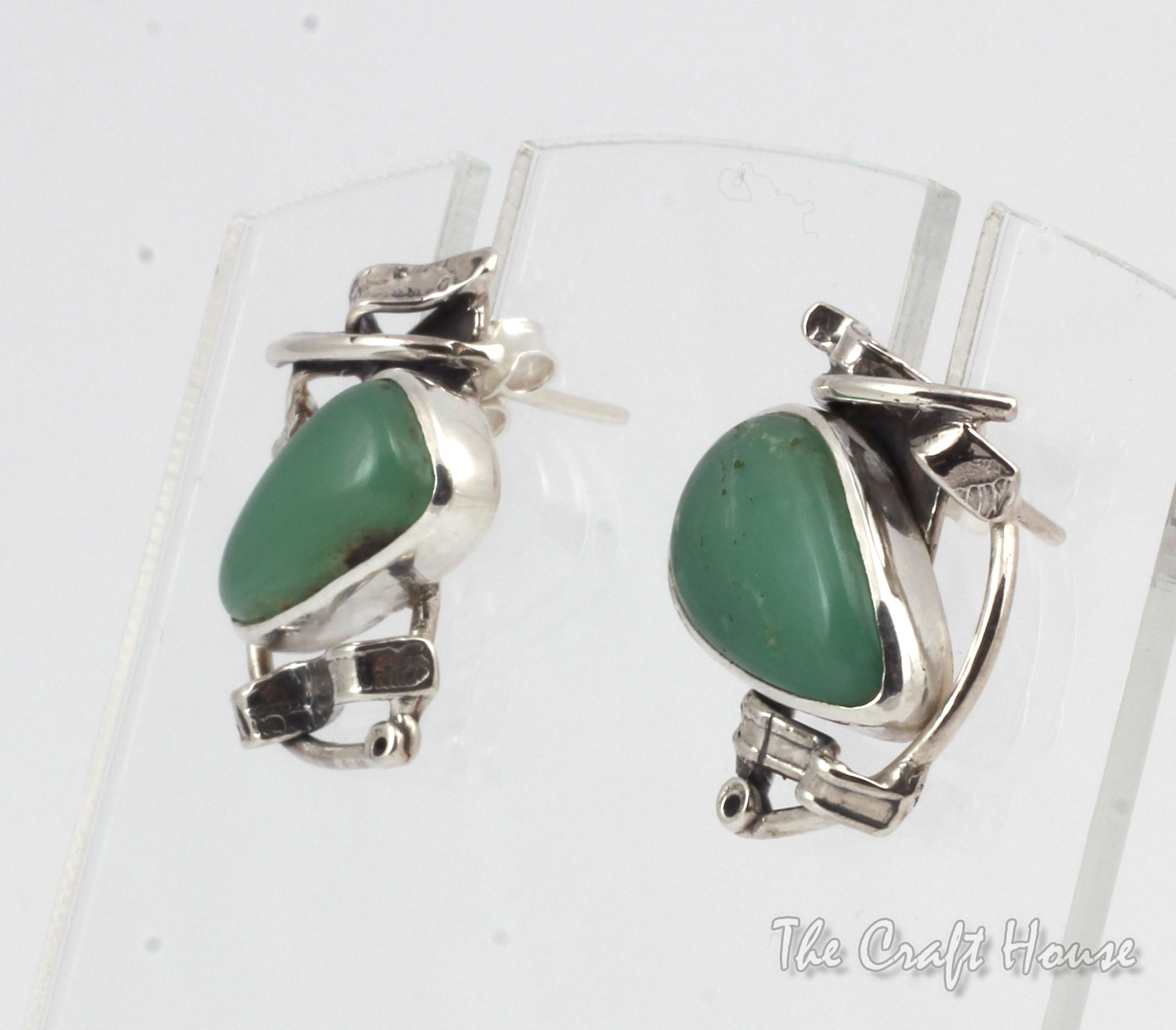 Silver earrings with Chrysoprase