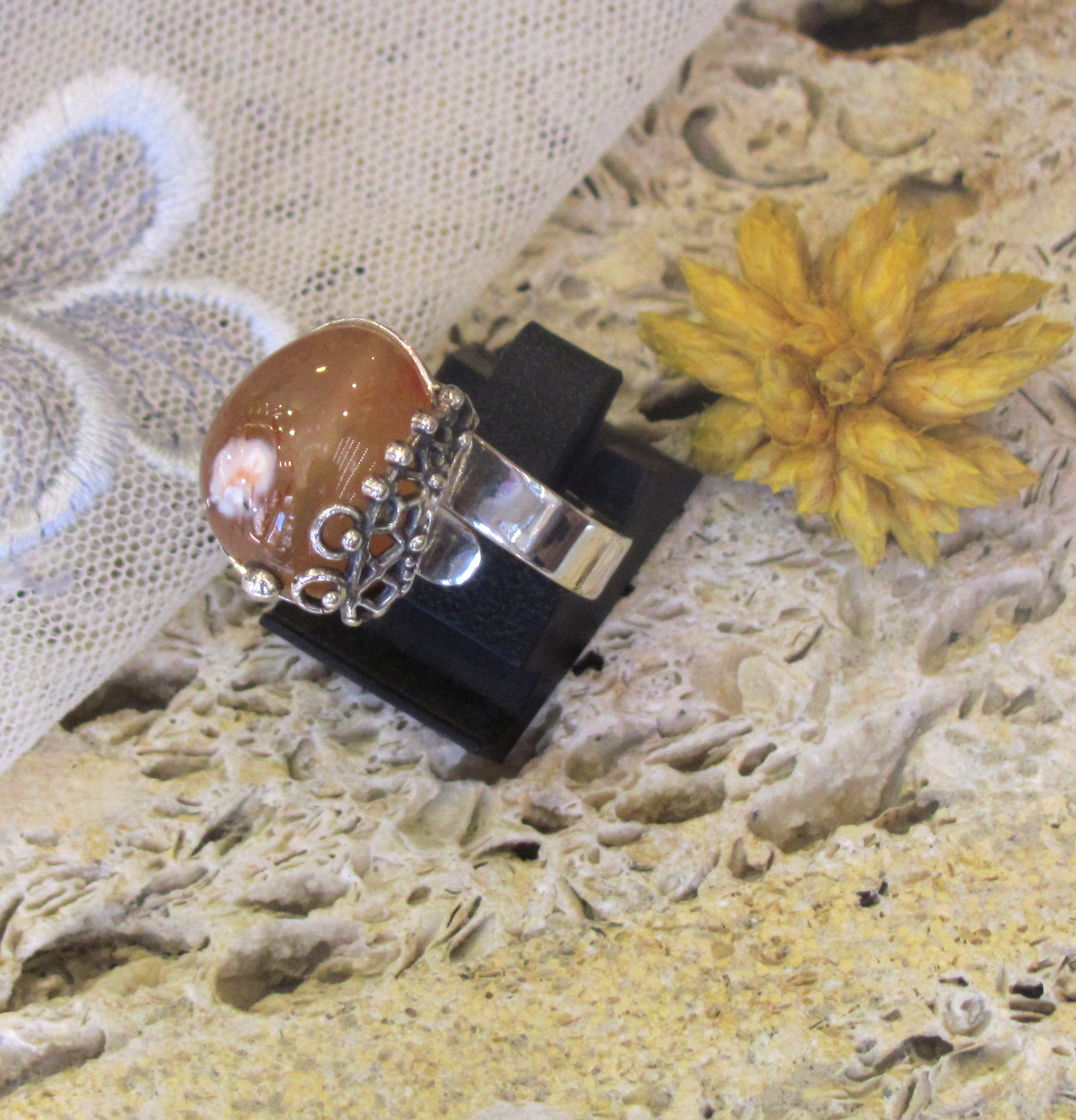 Silver ring with Carnelion