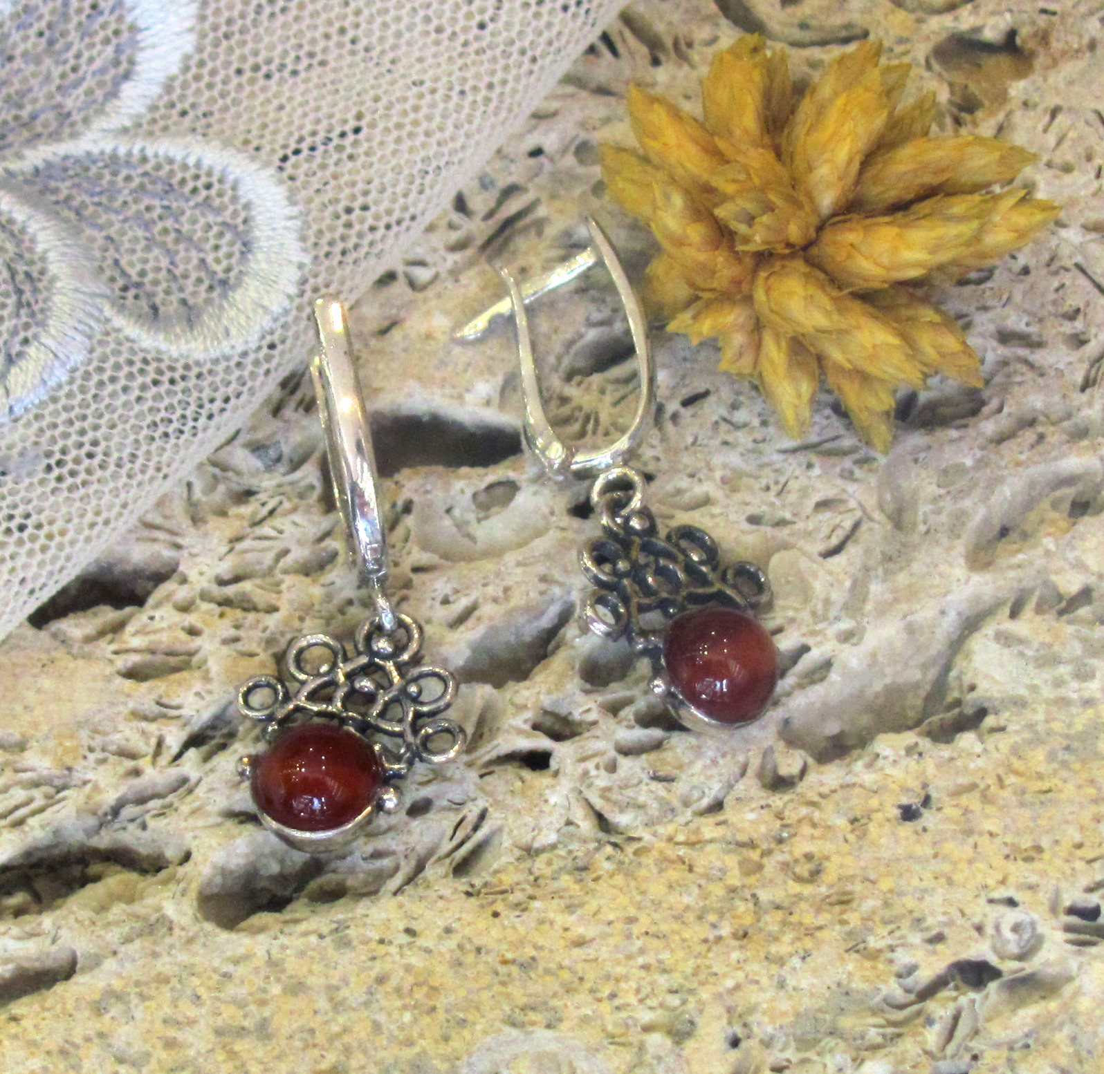 Silver earrings with Carnelion
