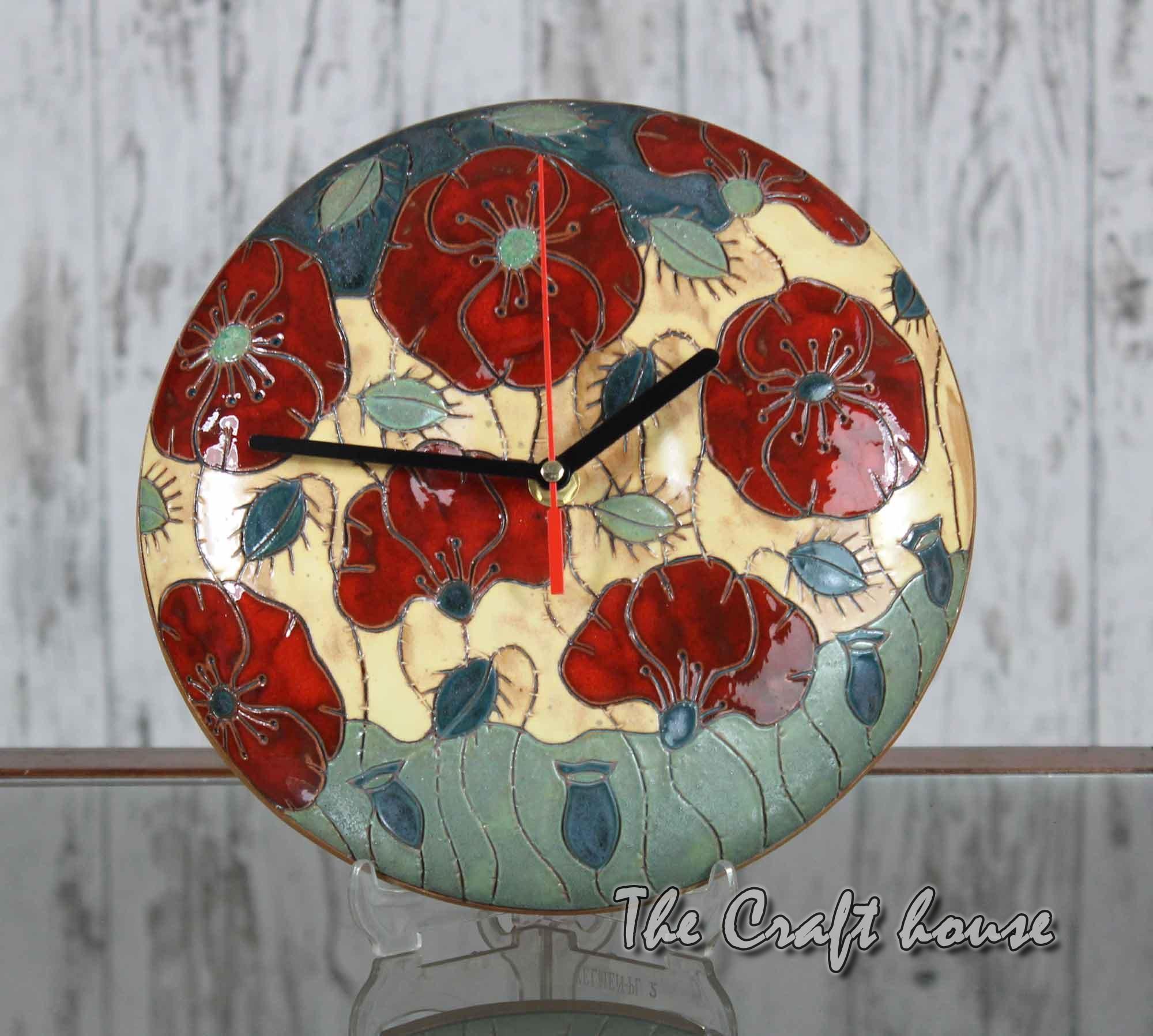 Ceramic clock with poppies