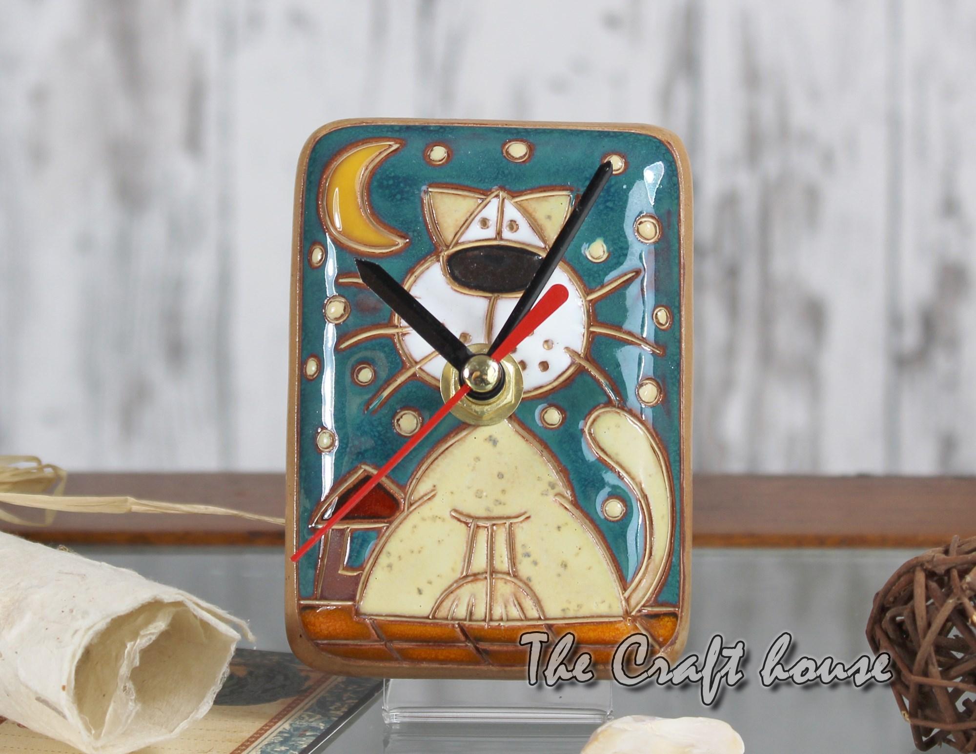 Ceramic clock 'Cats'