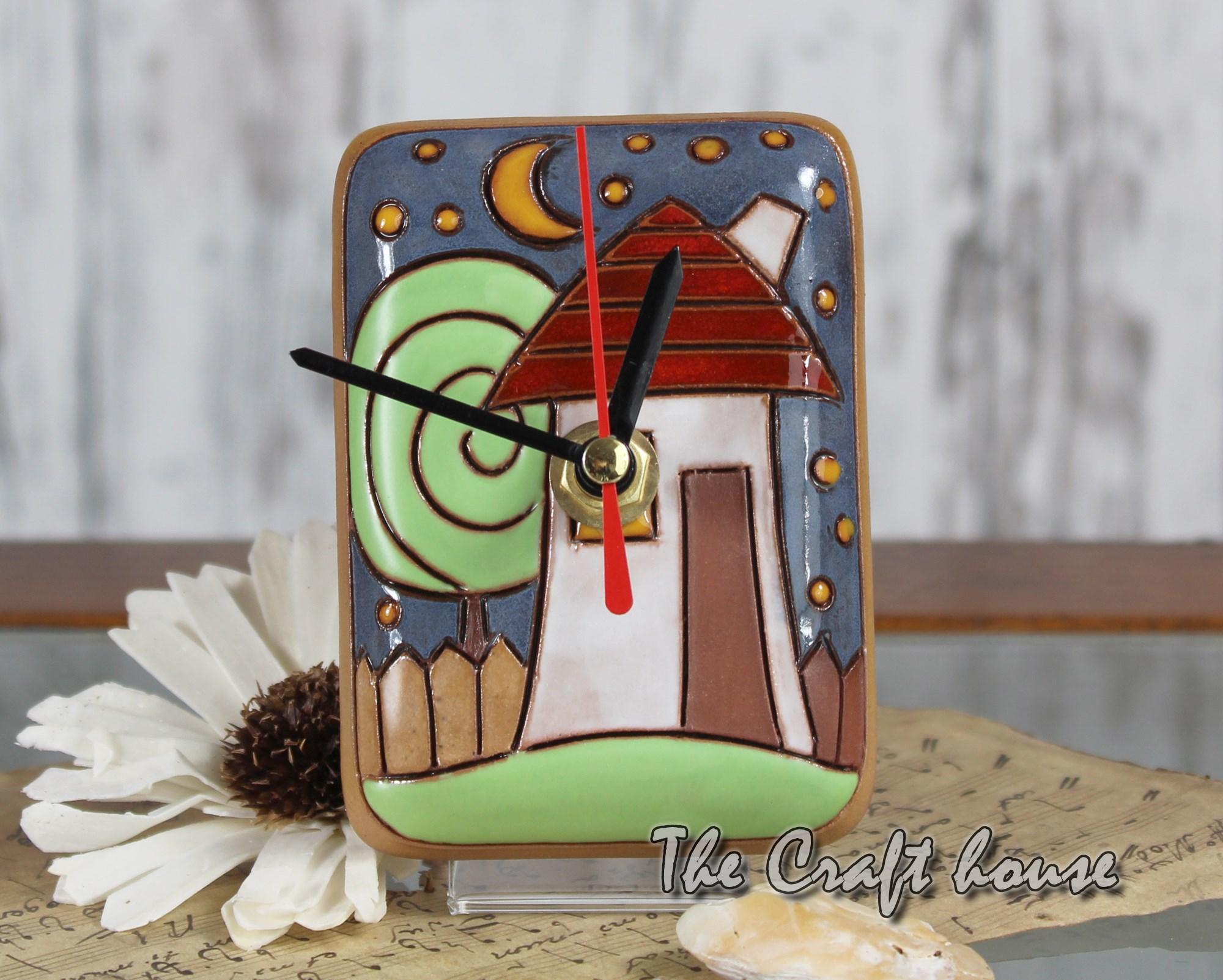 Ceramic clock 'Houses'