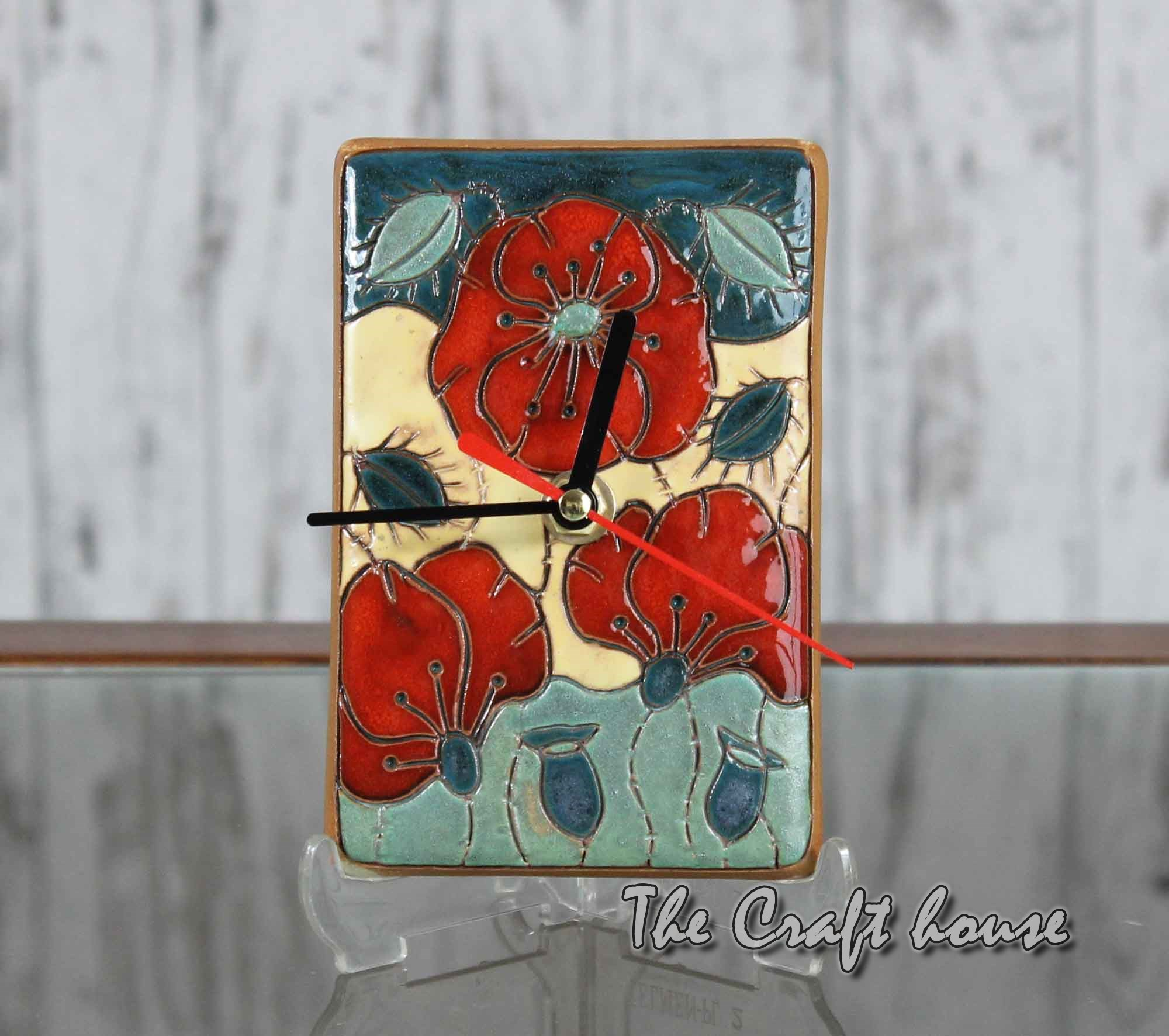 Ceramic clock 'Poppies'