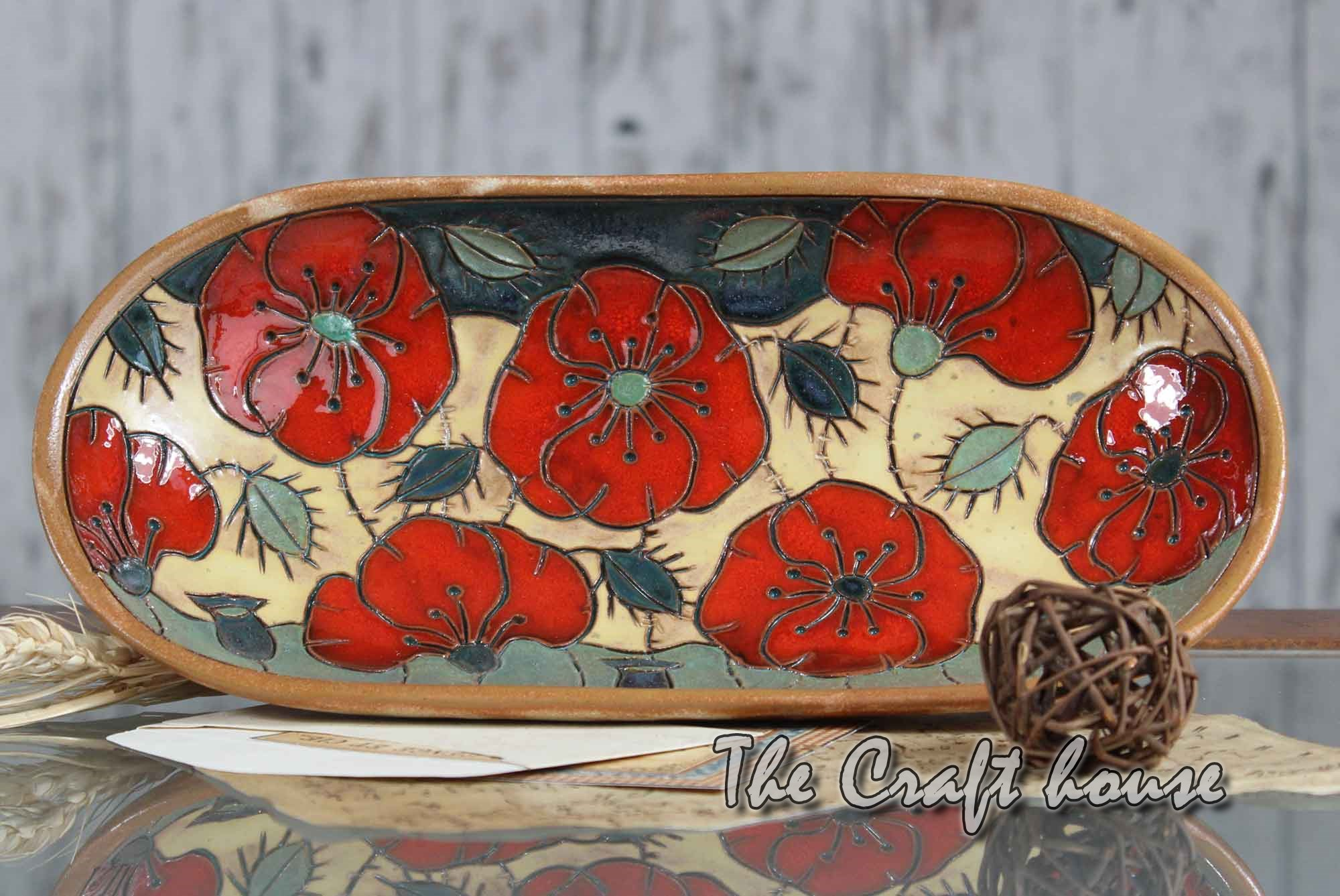 Ceramic plate poppies
