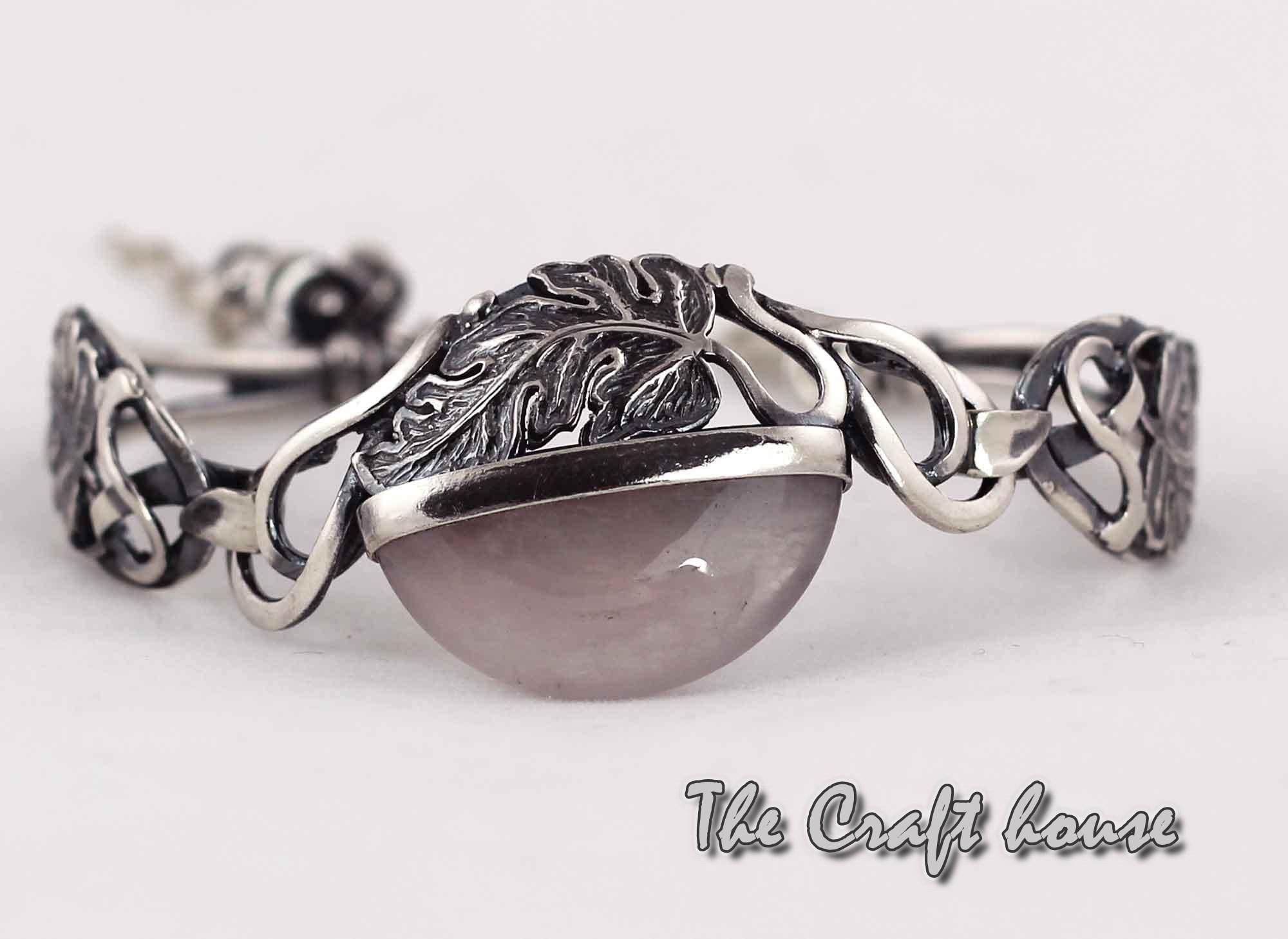 Silver bracelet with Pink Quartz
