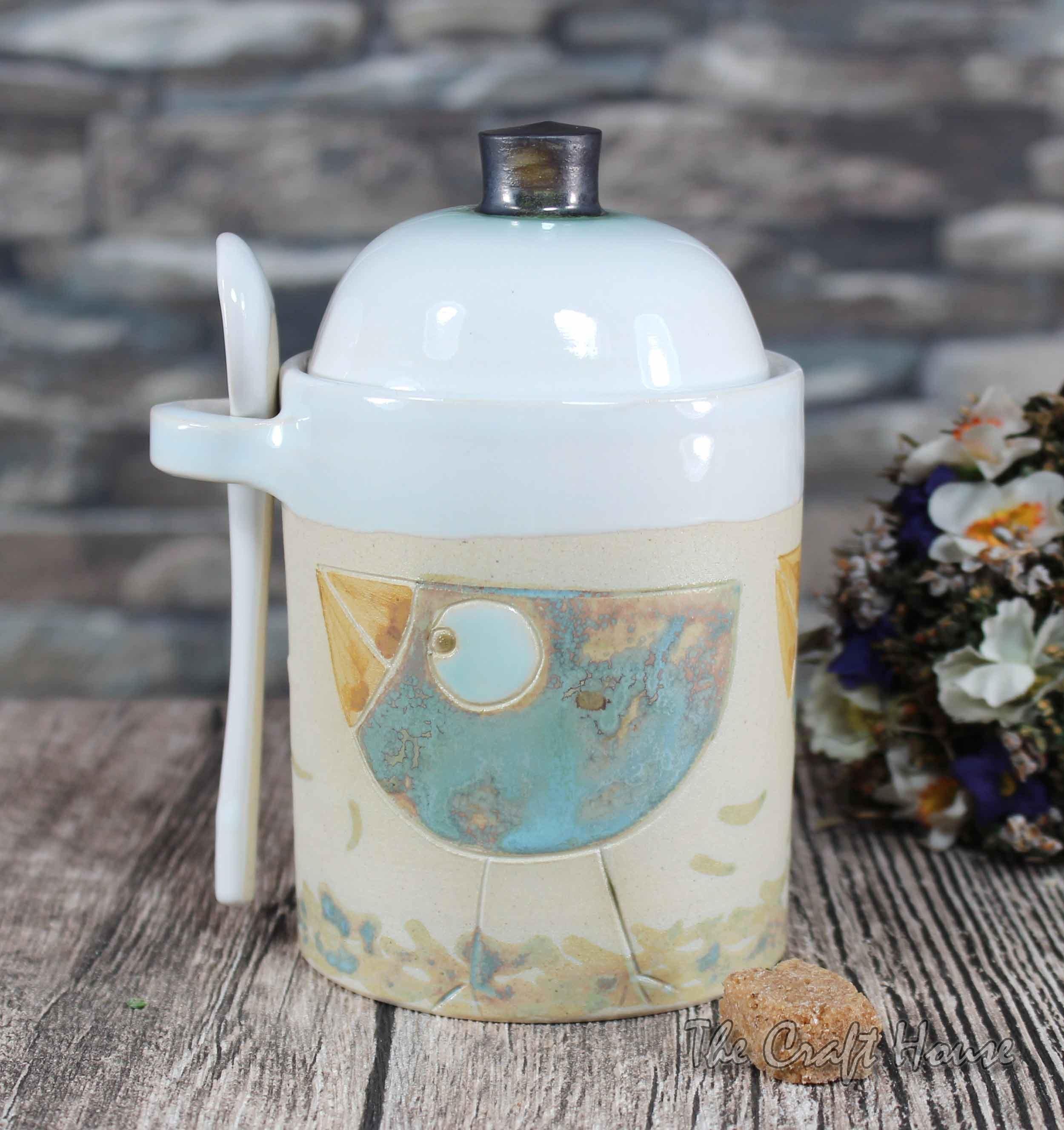 Ceramic sugar bowl 'Birds'