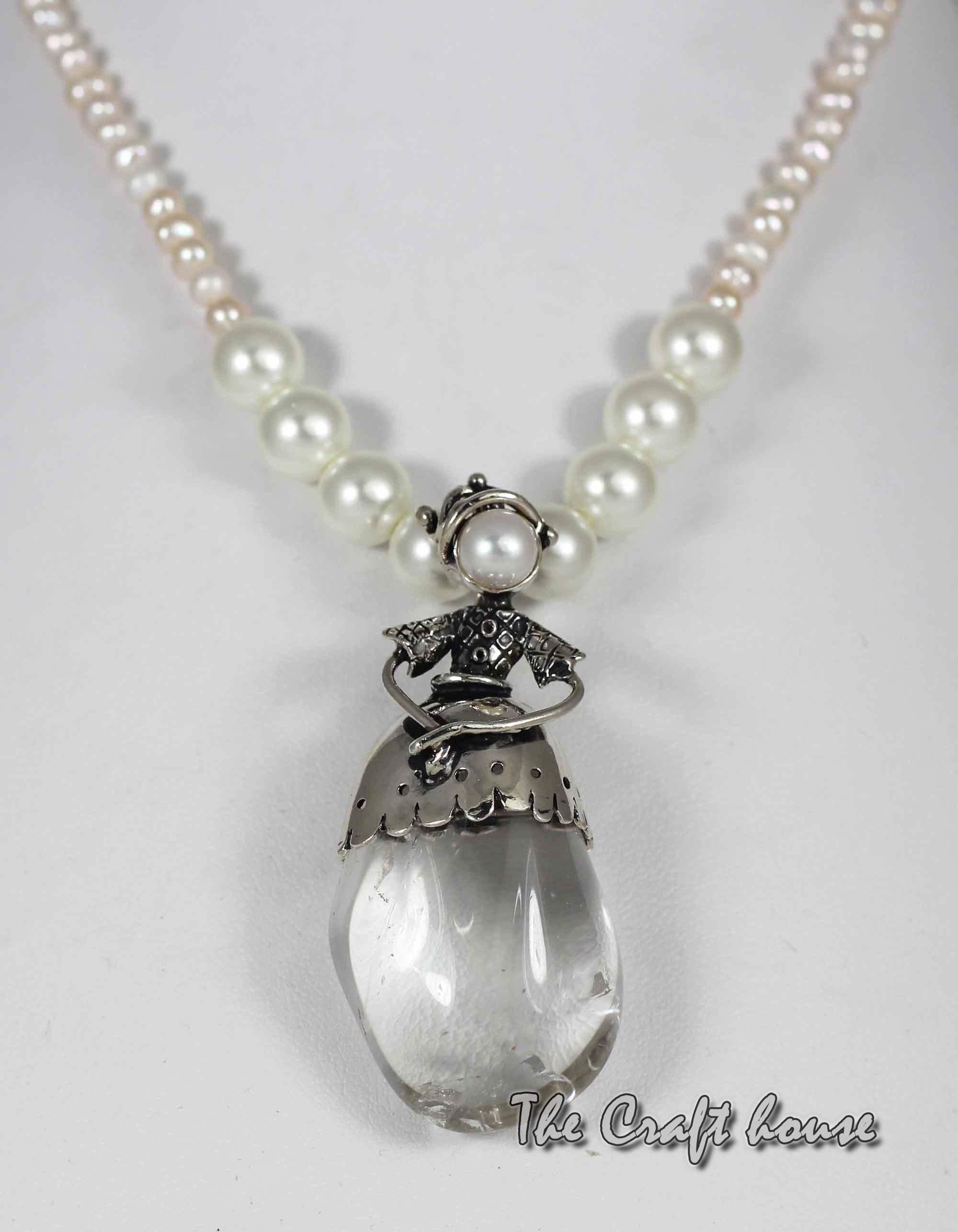 Сребърно колие с Планински кристал и перли