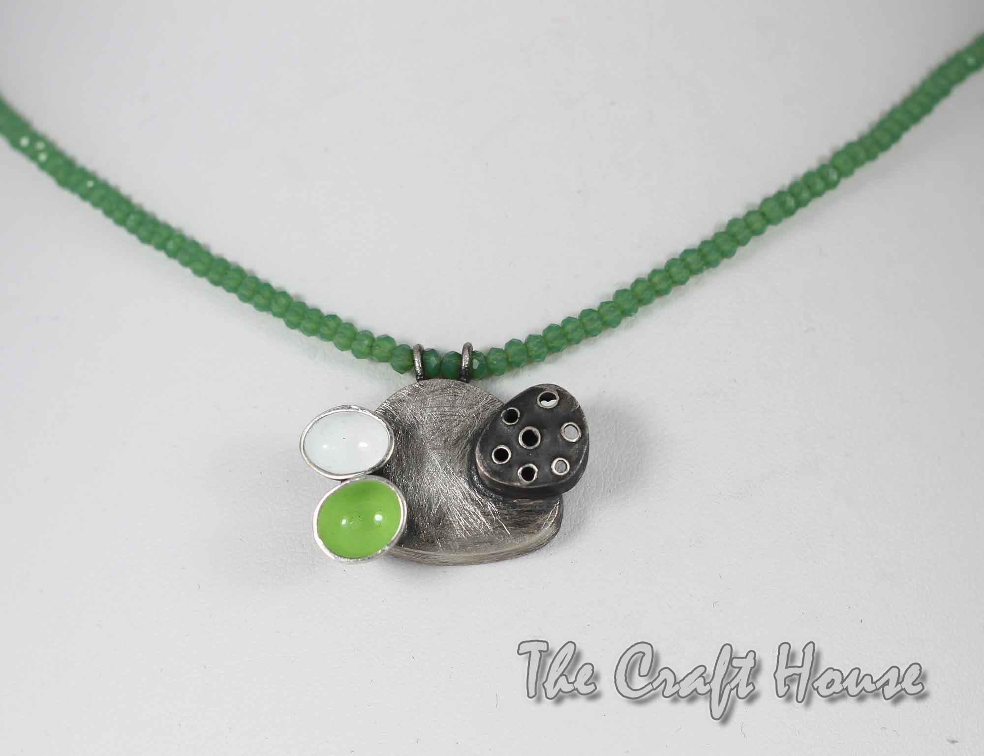 Silver necklace with color enamel