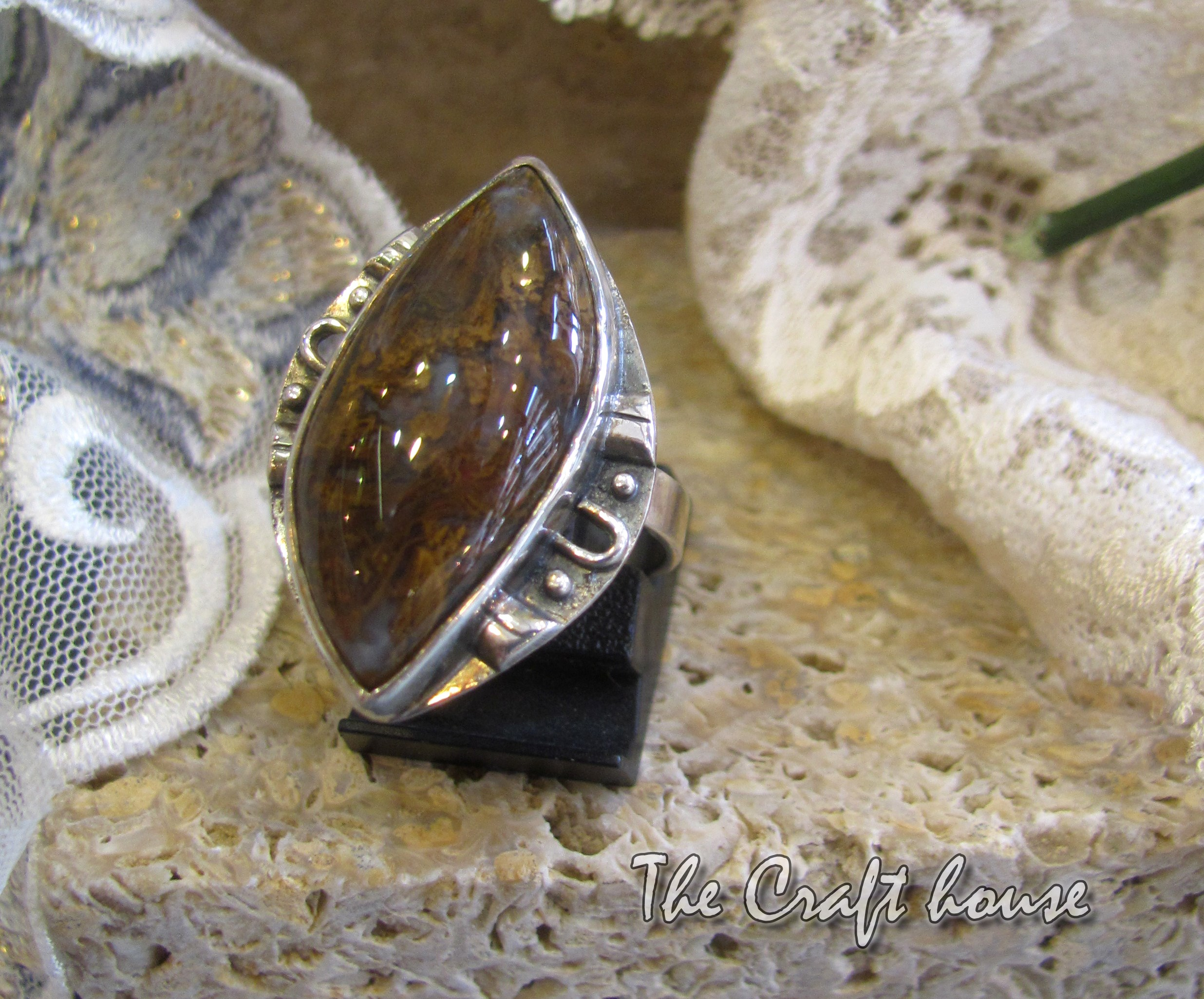 Silver ring with Moss agate