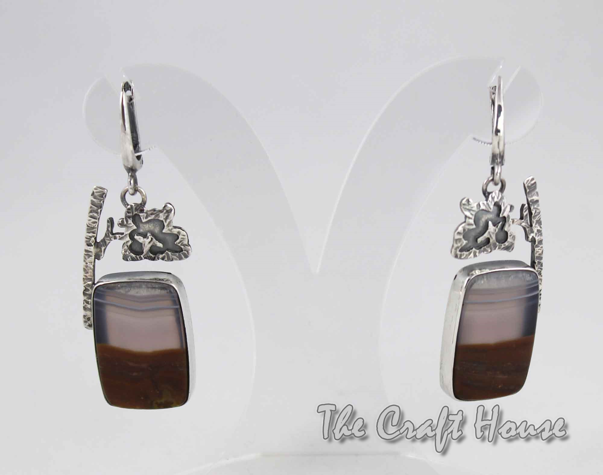 Earrings with Landscape agate