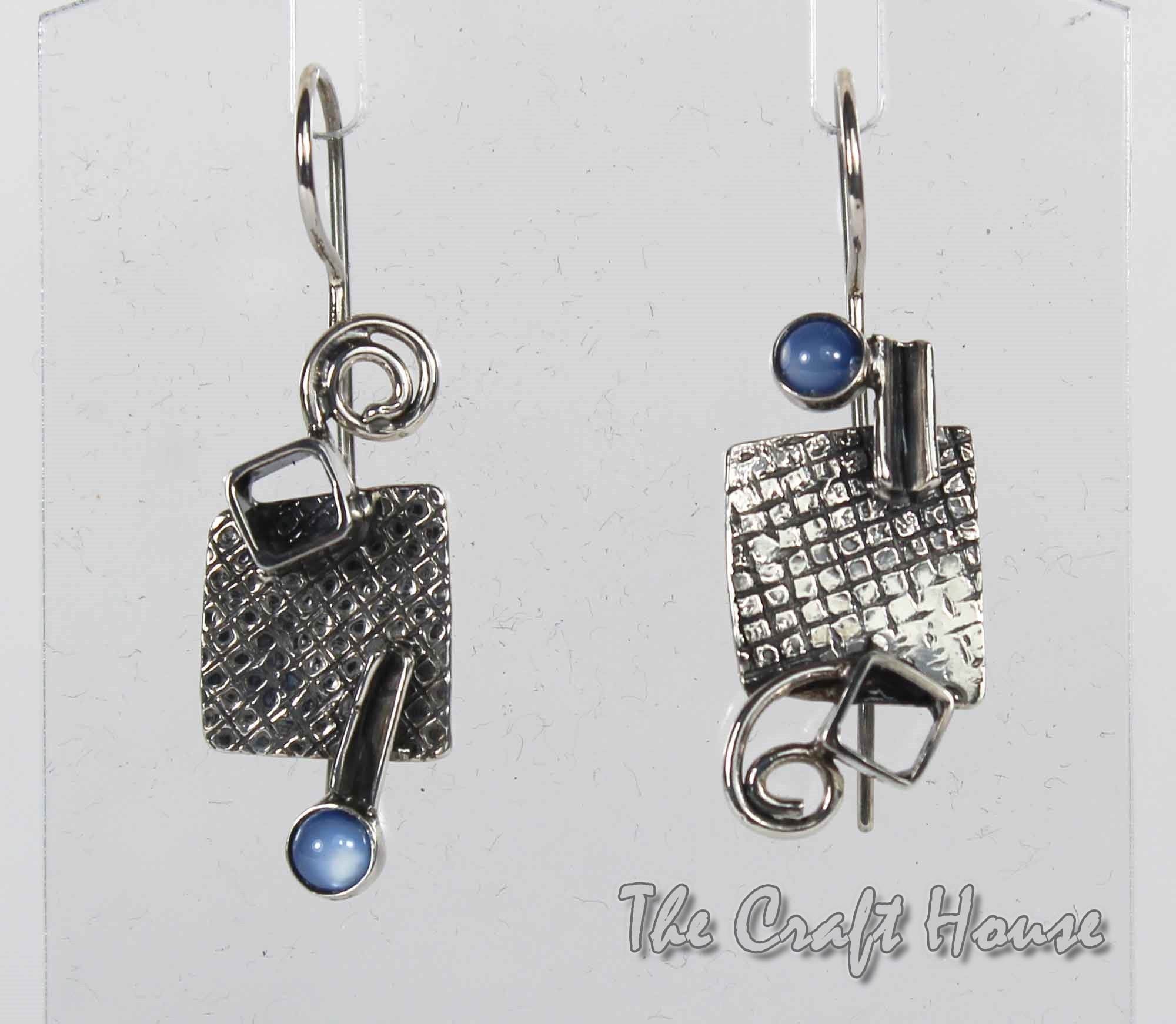Silver earrings with Cat's eye stone