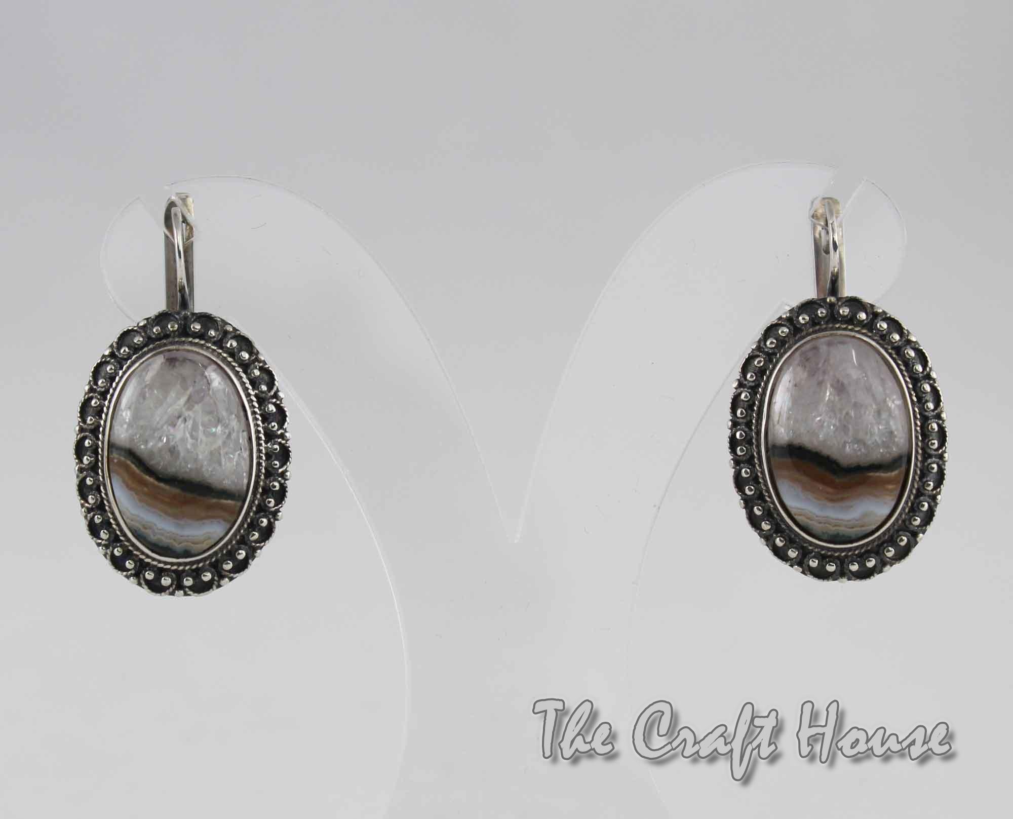 Сребърни обеци с Пейзажен Ахат
